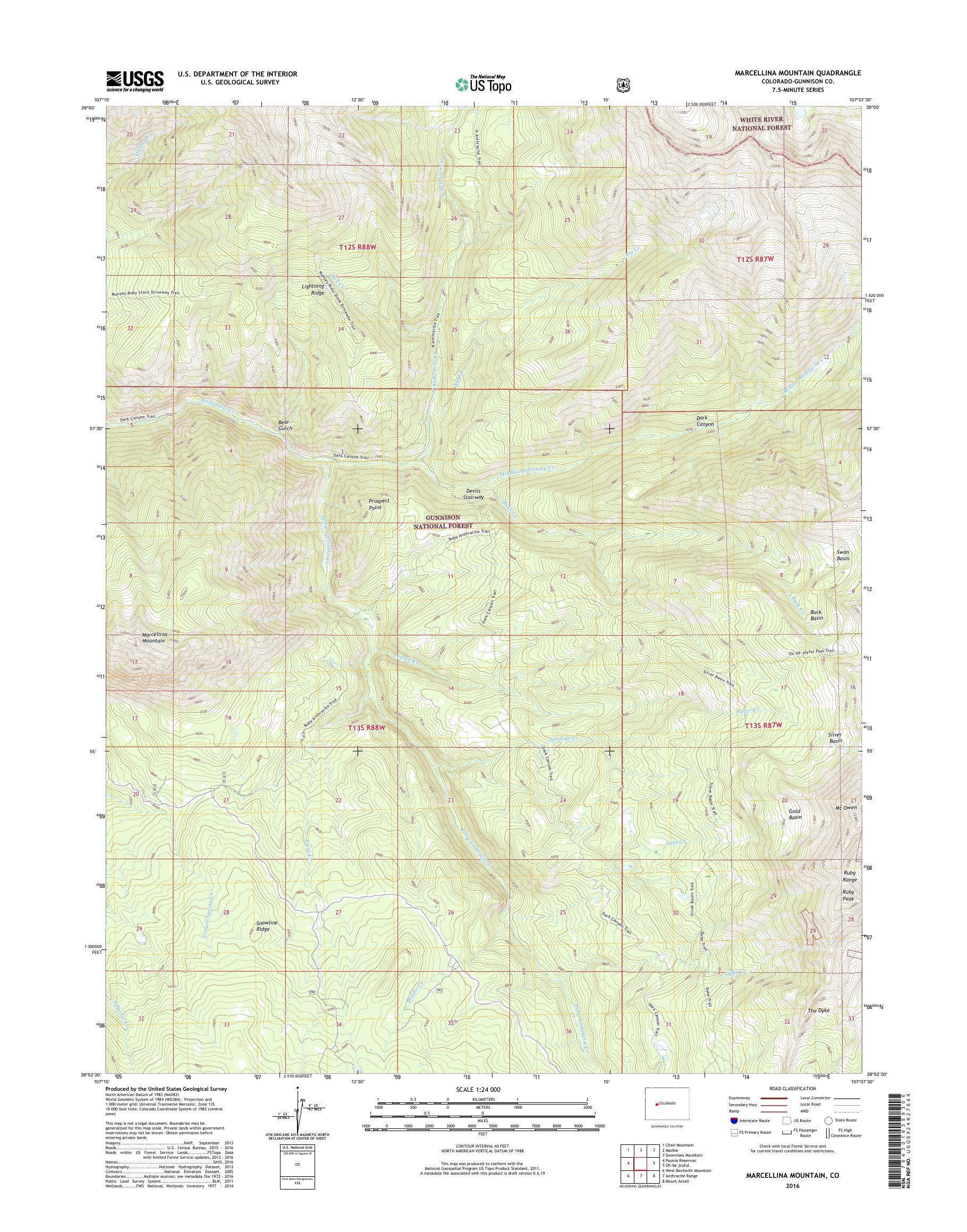 Mytopo Marcellina Mountain Colorado Usgs Quad Topo Map - Topographic-map-of-us-mountain-ranges