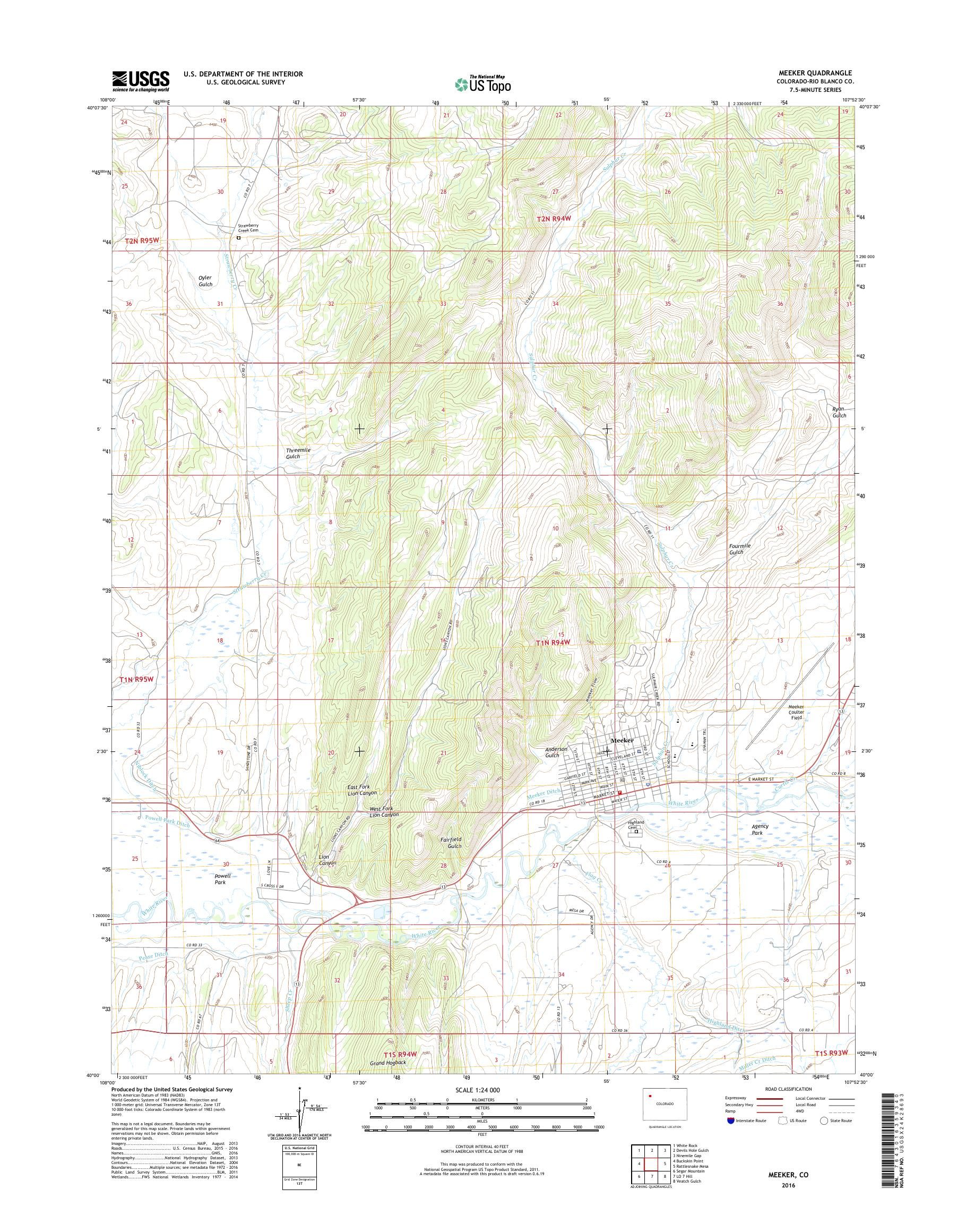 Mytopo Meeker Colorado Usgs Quad Topo Map