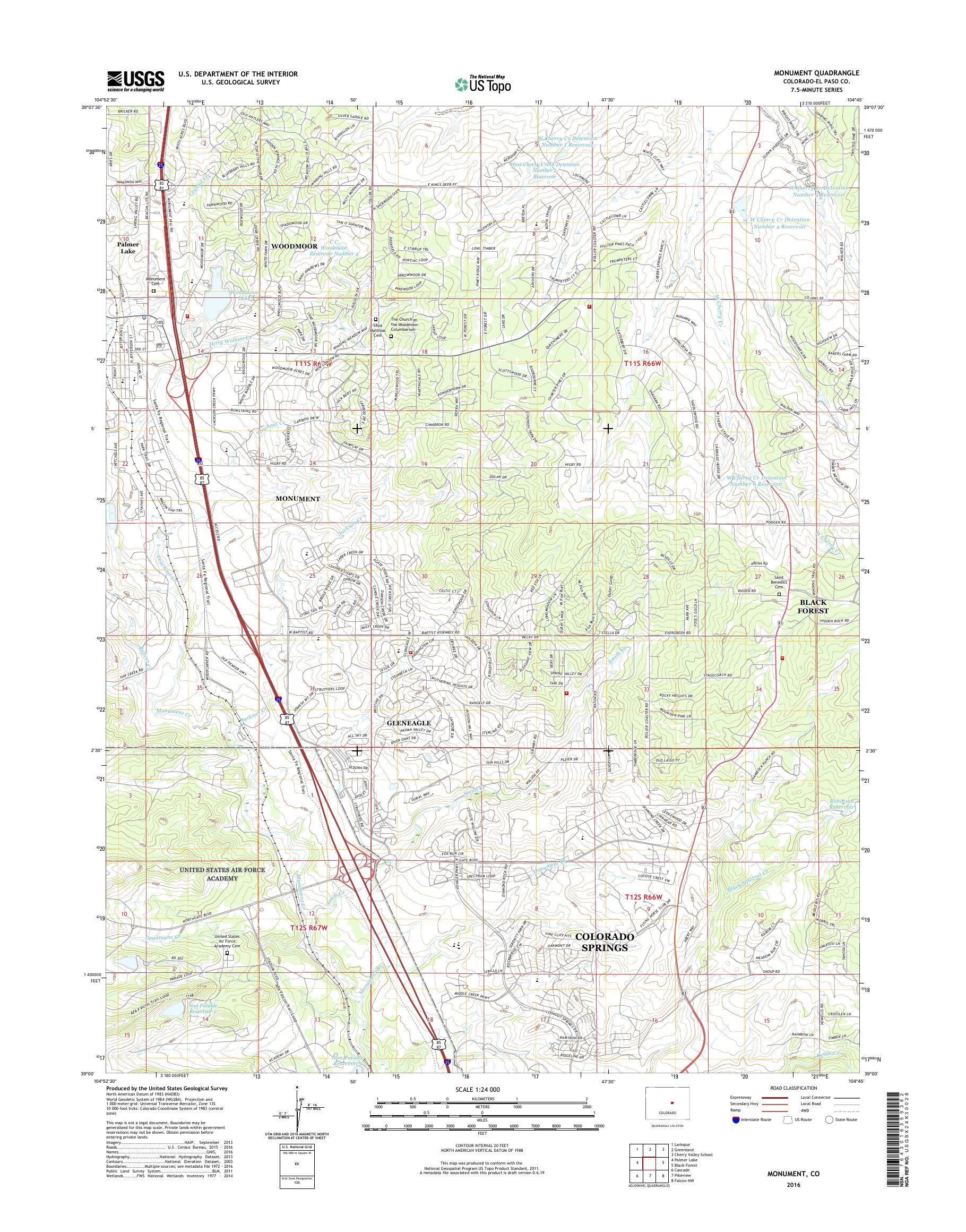 MyTopo Monument, Colorado USGS Quad Topo Map
