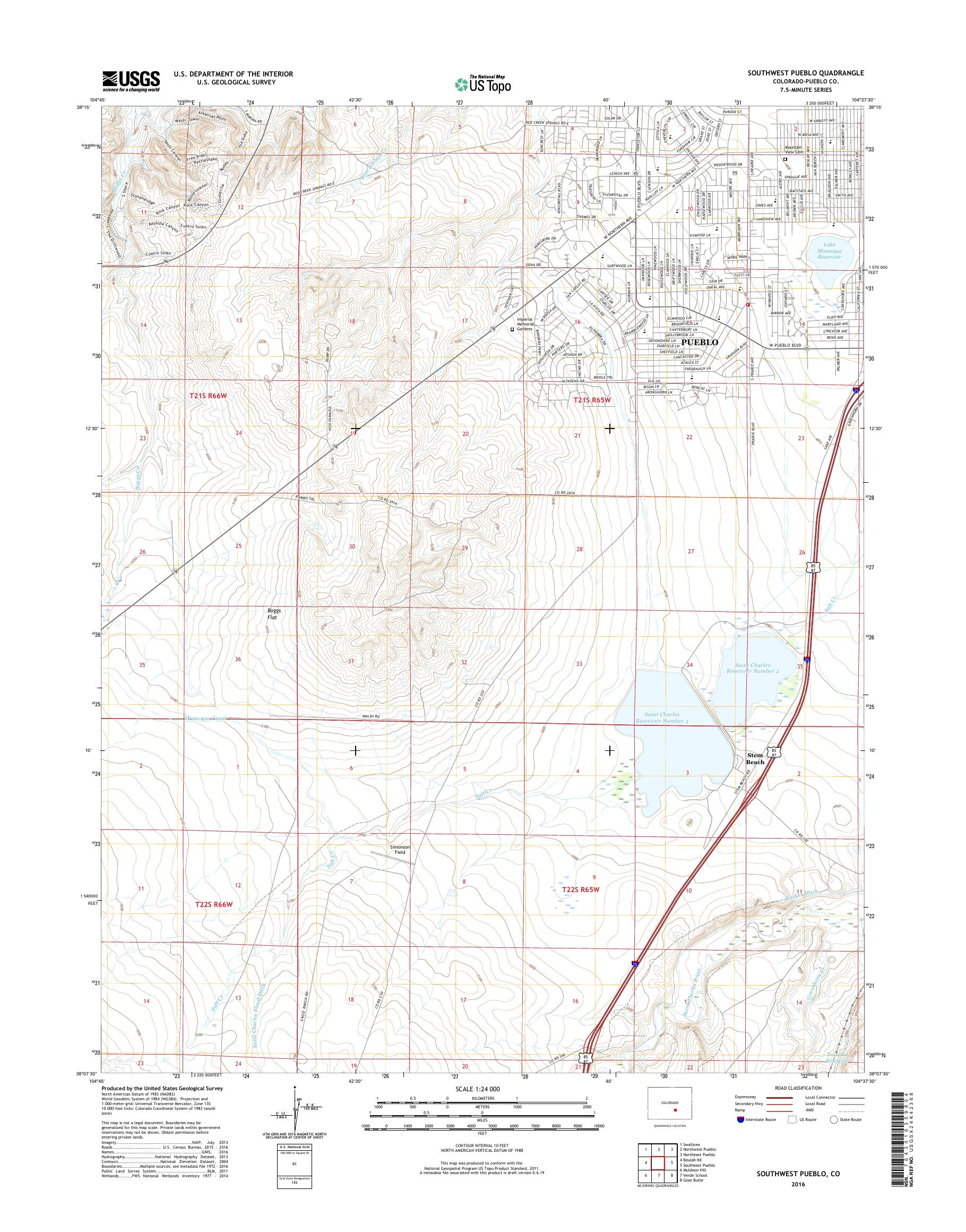MyTopo Southwest Pueblo, Colorado USGS Quad Topo Map