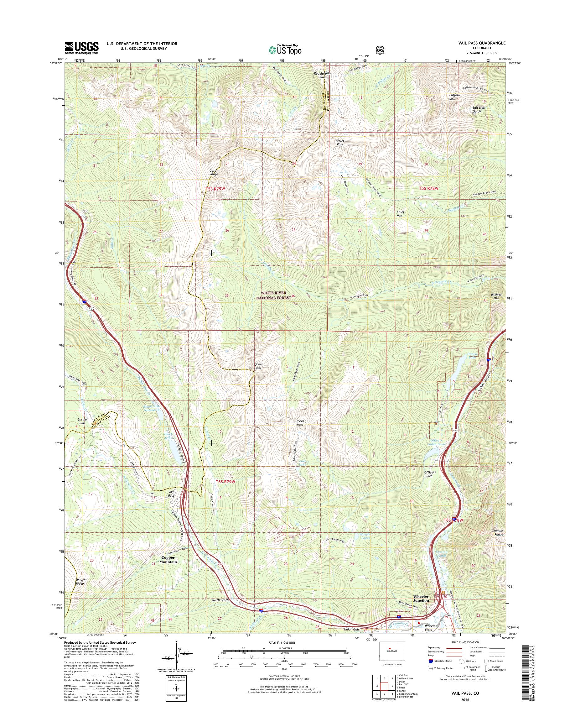 MyTopo Vail Pass, Colorado USGS Quad Topo Map