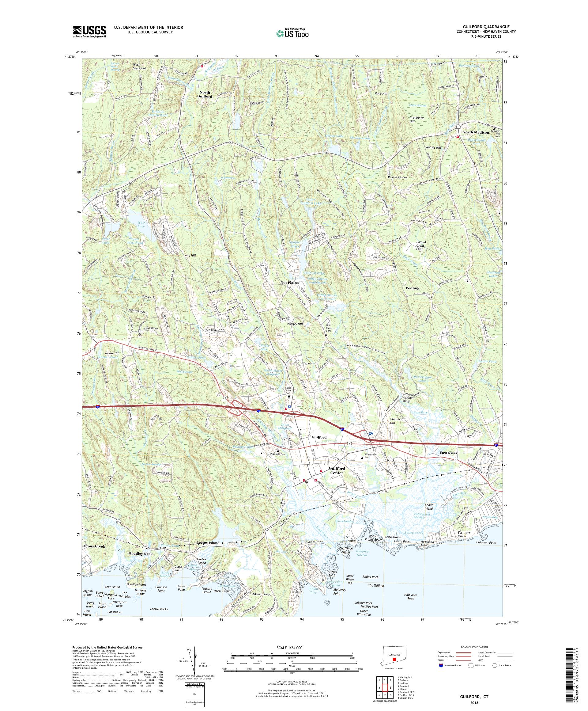 MyTopo Guilford, Connecticut USGS Quad Topo Map