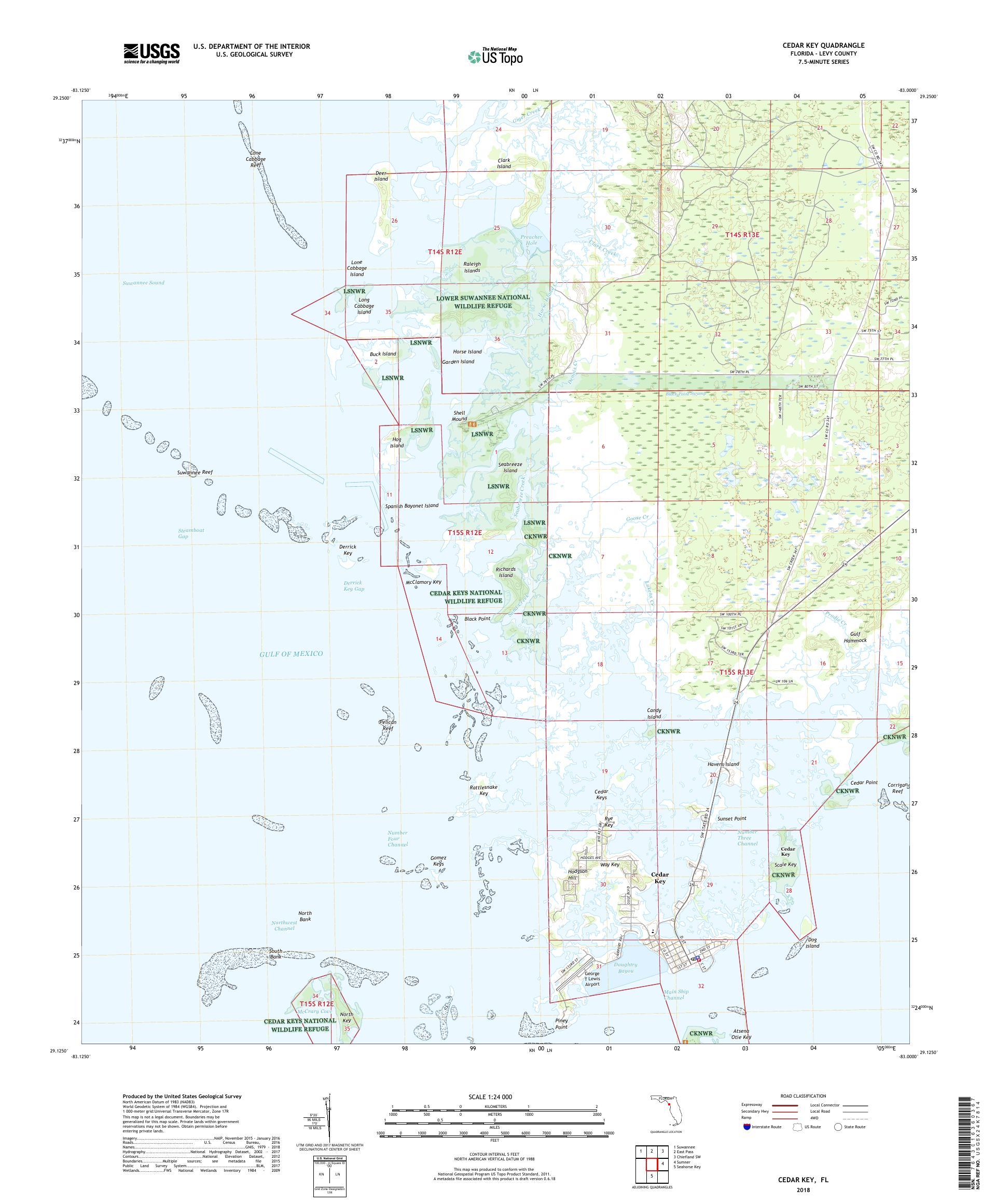 MyTopo Cedar Key, Florida USGS Quad Topo Map on