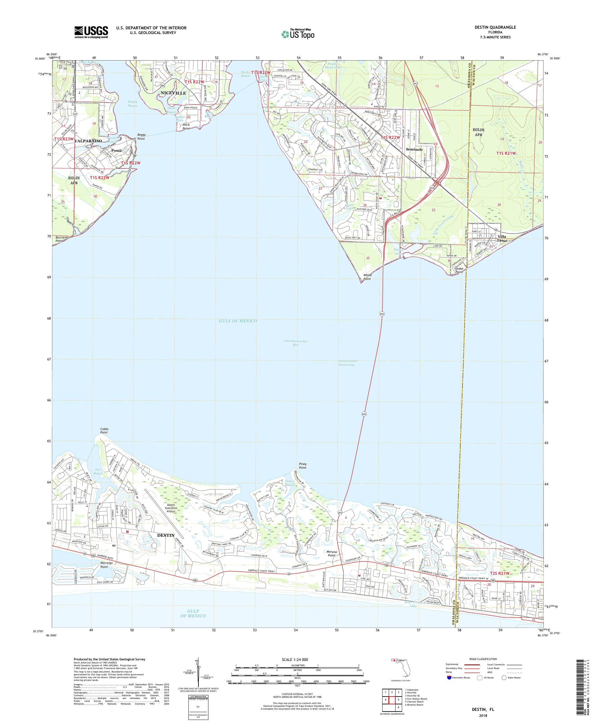 MyTopo Destin, Florida USGS Quad Topo Map