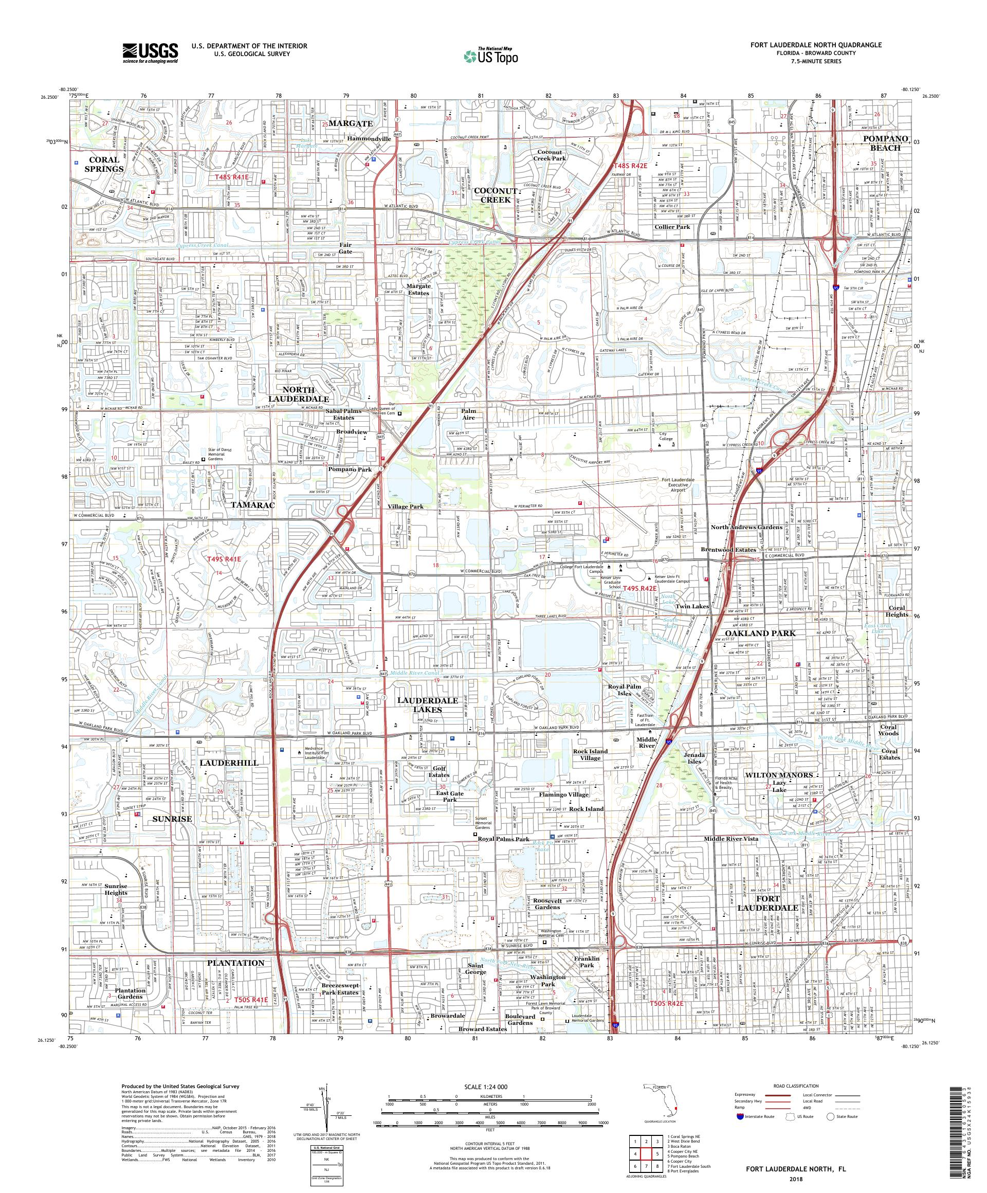 Ft Lauderdale On Map Of Florida.Mytopo Fort Lauderdale North Florida Usgs Quad Topo Map