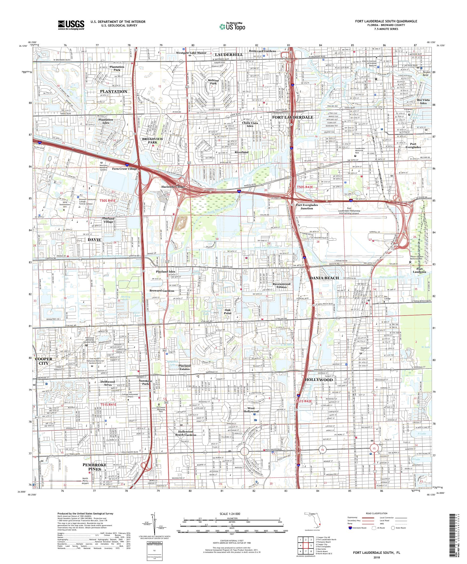 Fort Lauderdale Map Florida.Mytopo Fort Lauderdale South Florida Usgs Quad Topo Map