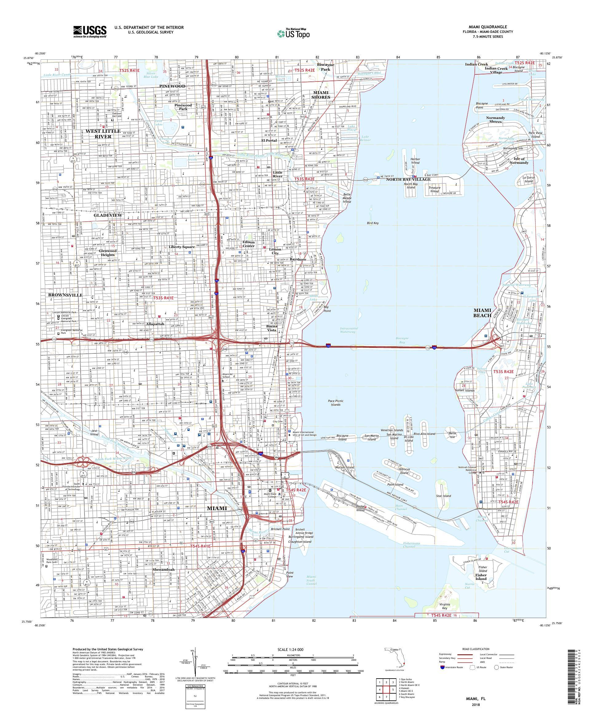 Mytopo Miami Florida Usgs Quad Topo Map - Miami-us-map