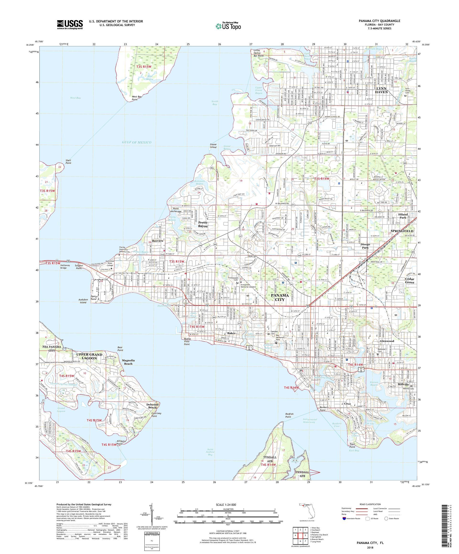 Panama City Map Of Florida.Mytopo Panama City Florida Usgs Quad Topo Map
