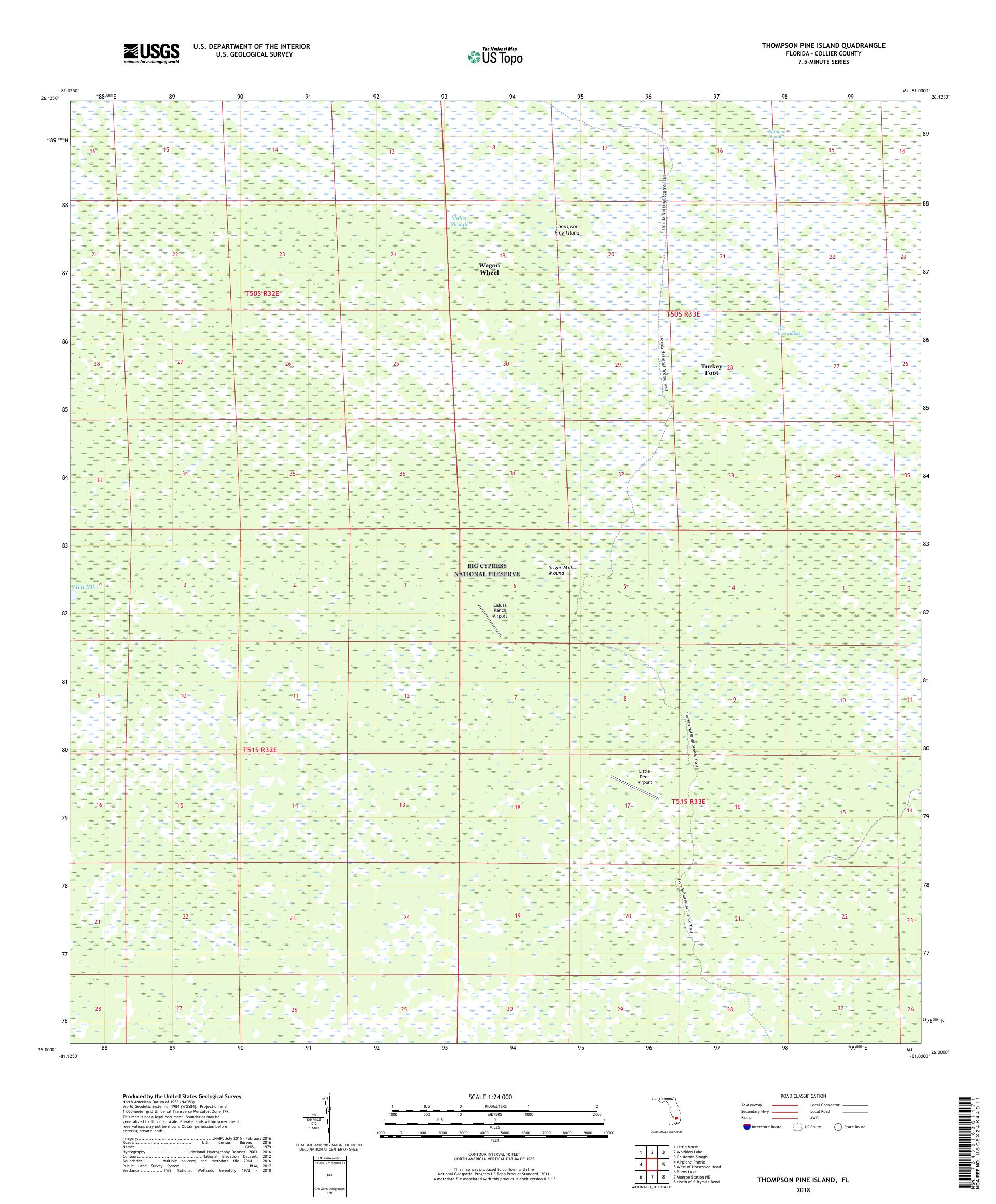 MyTopo Thompson Pine Island, Florida USGS Quad Topo Map