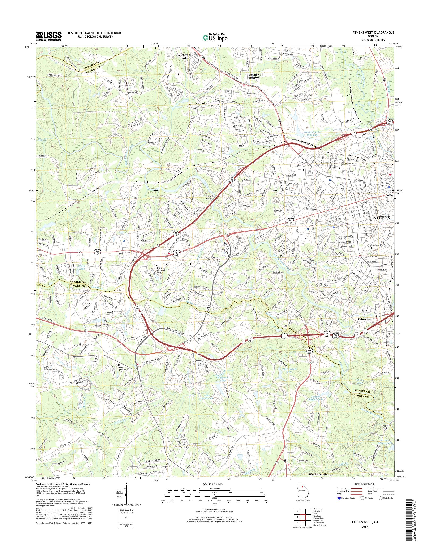 Map Of West Georgia.Mytopo Athens West Georgia Usgs Quad Topo Map