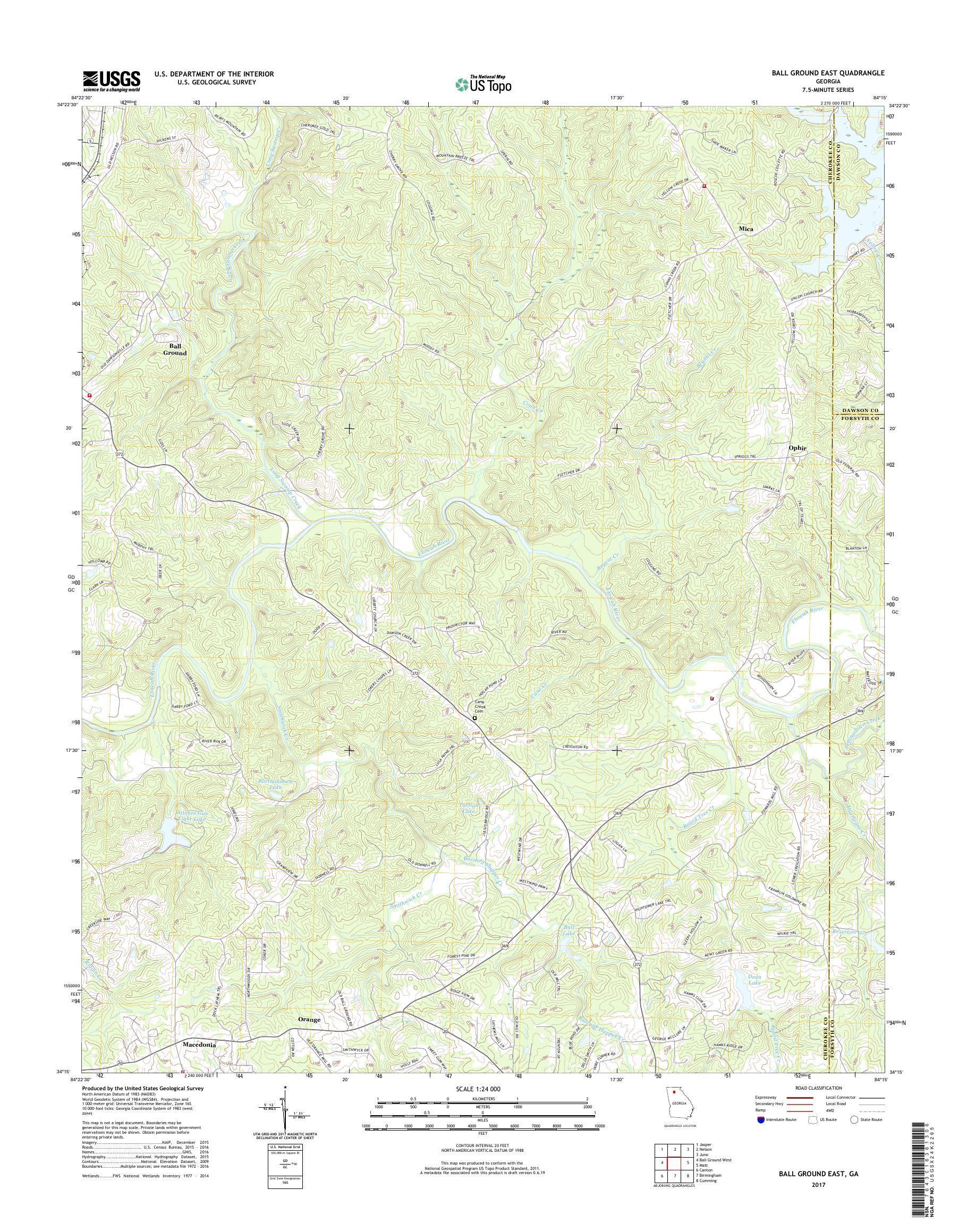 Map Of East Georgia.Mytopo Ball Ground East Georgia Usgs Quad Topo Map
