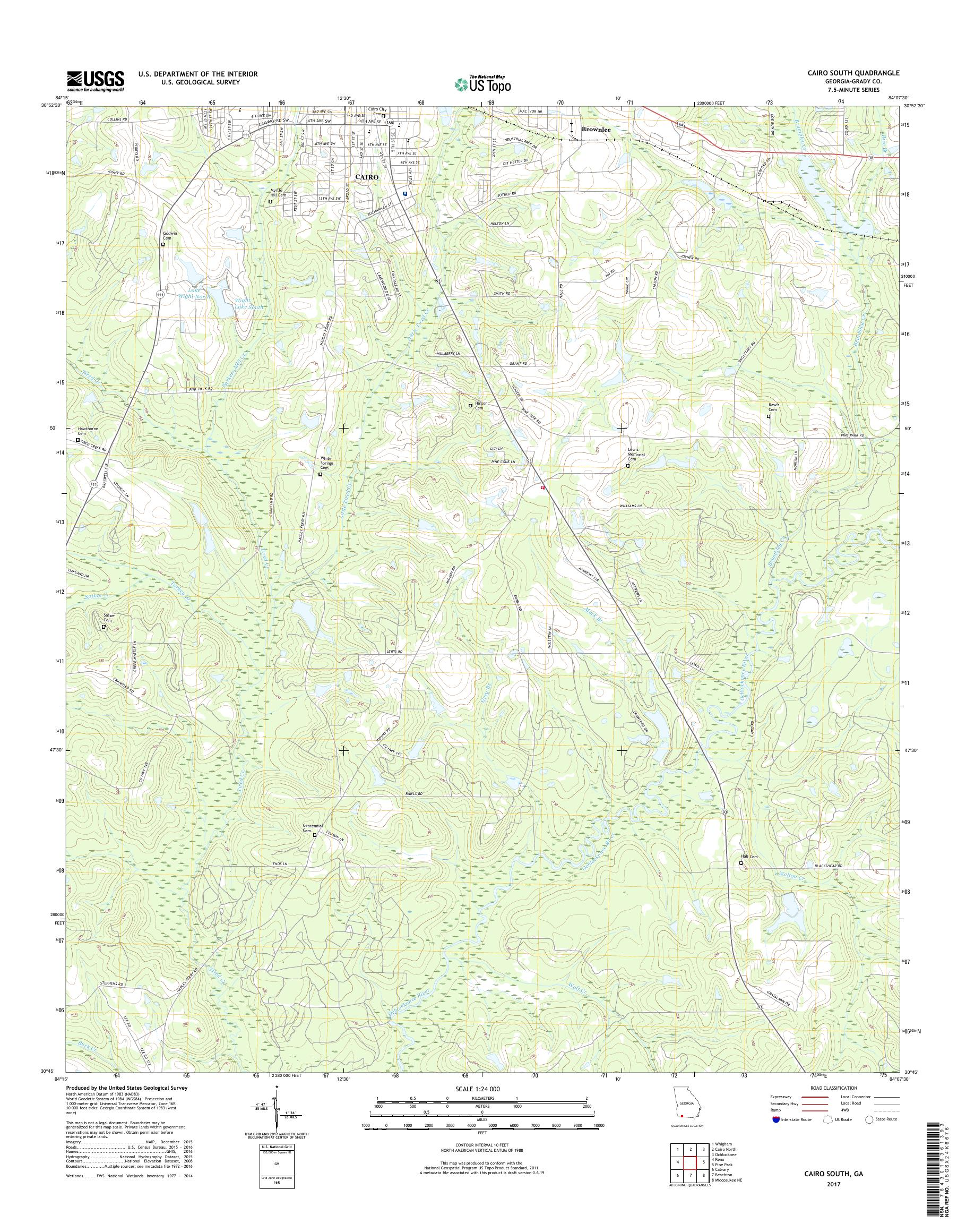 Map Of Cairo Georgia.Mytopo Cairo South Georgia Usgs Quad Topo Map