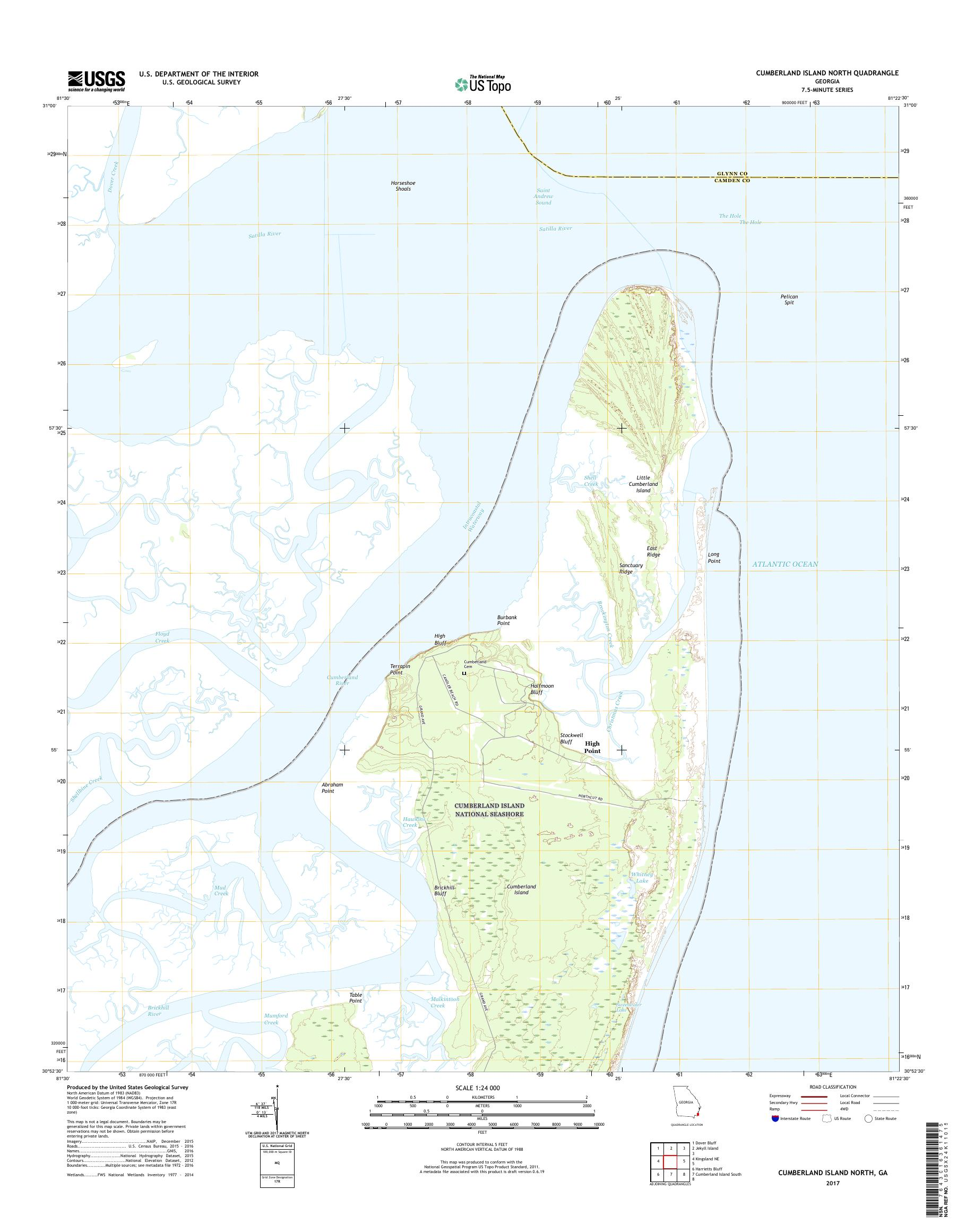 MyTopo Cumberland Island North, Georgia USGS Quad Topo Map