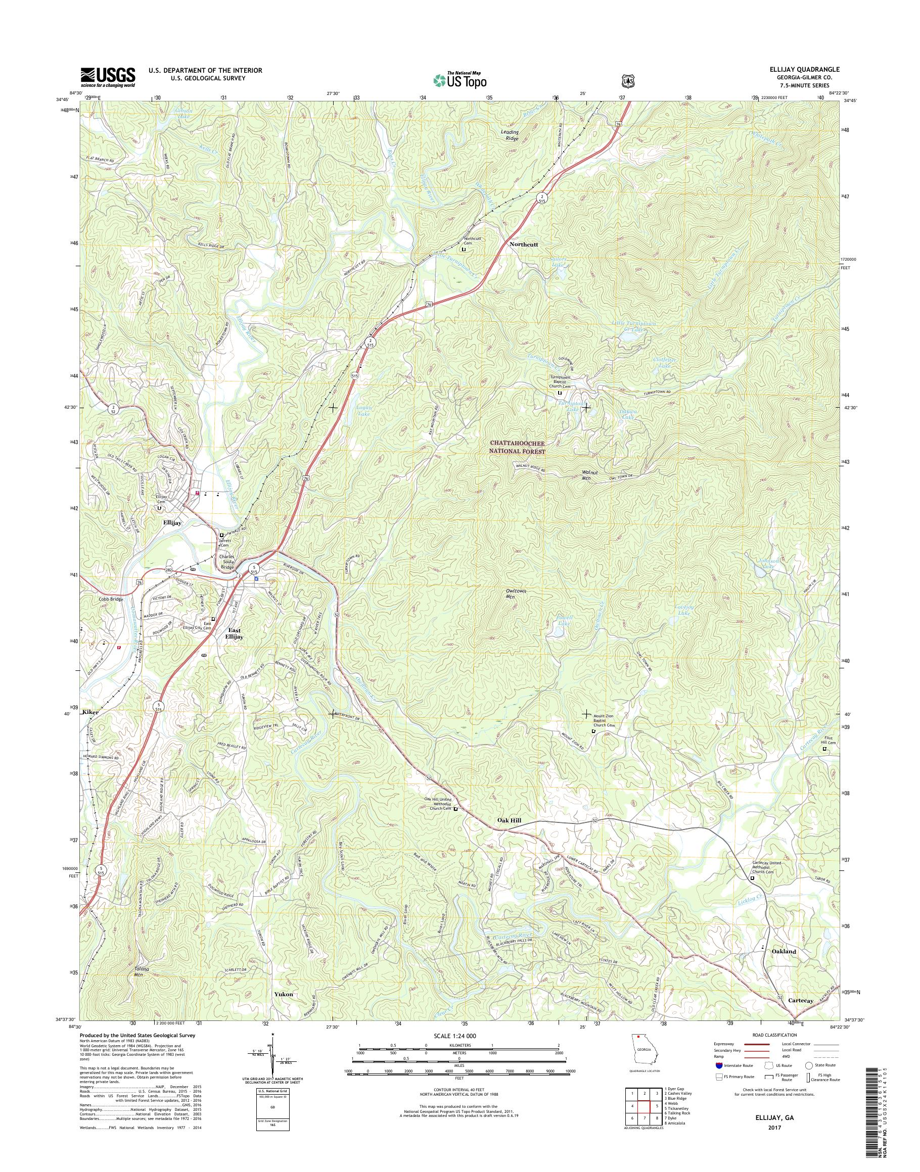 Mytopo Ellijay Georgia Usgs Quad Topo Map