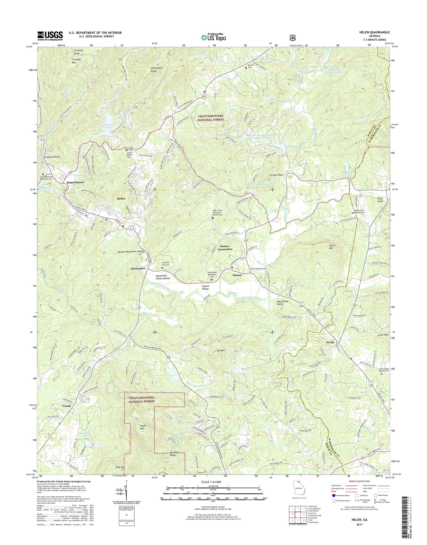Map Of Georgia Helen.Mytopo Helen Georgia Usgs Quad Topo Map