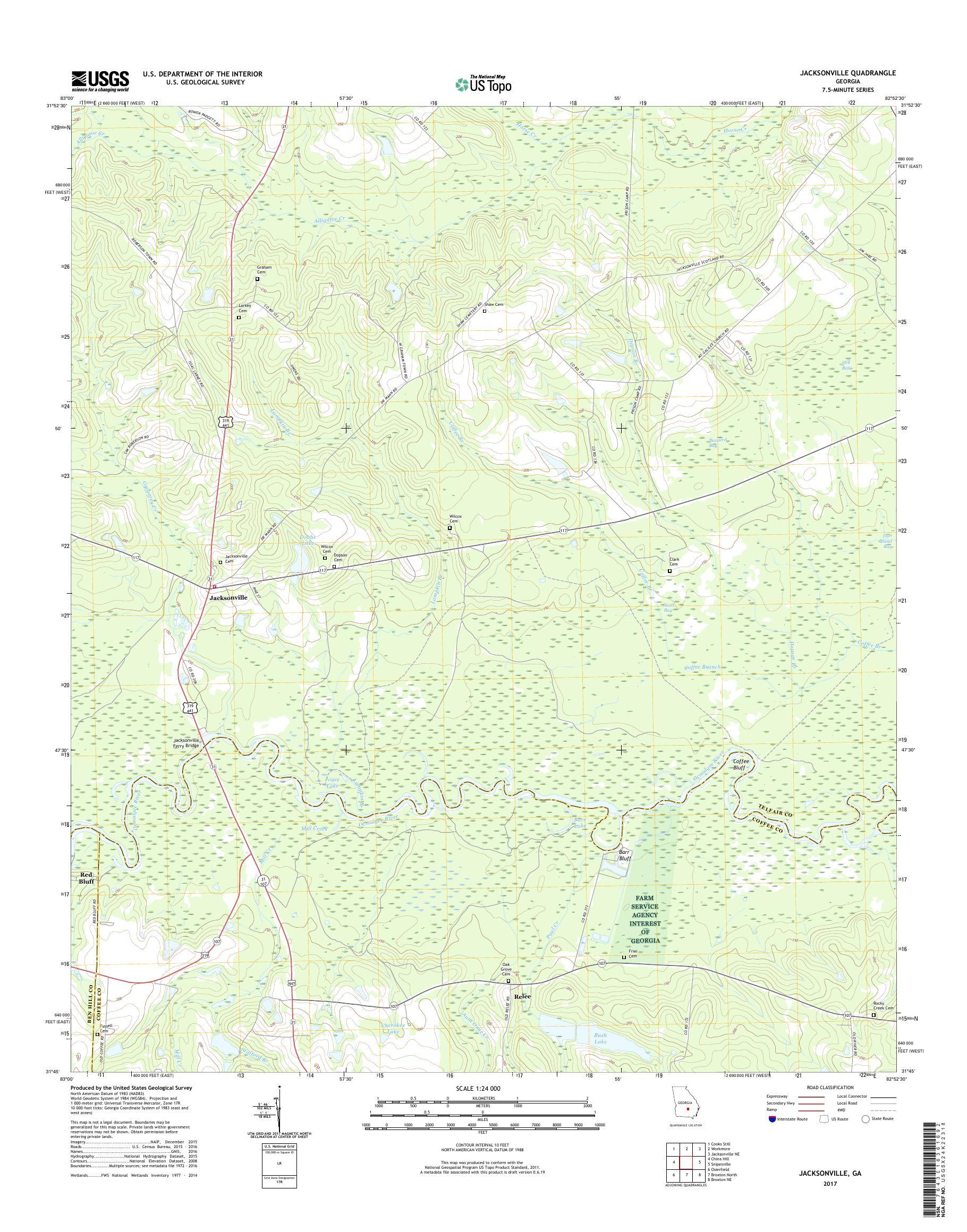 Map Of Jacksonville Georgia.Mytopo Jacksonville Georgia Usgs Quad Topo Map