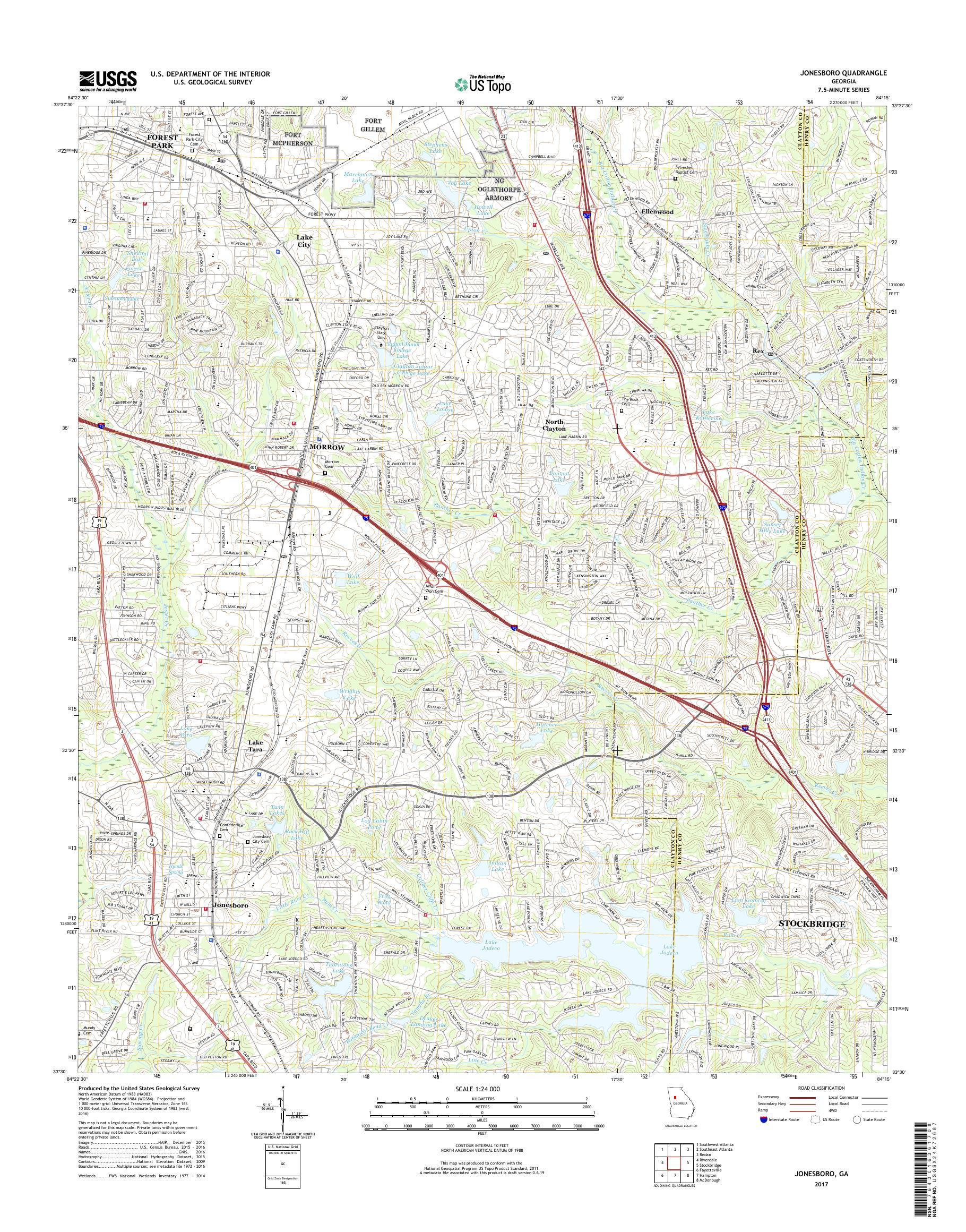 Map Of Jonesboro Georgia.Mytopo Jonesboro Georgia Usgs Quad Topo Map
