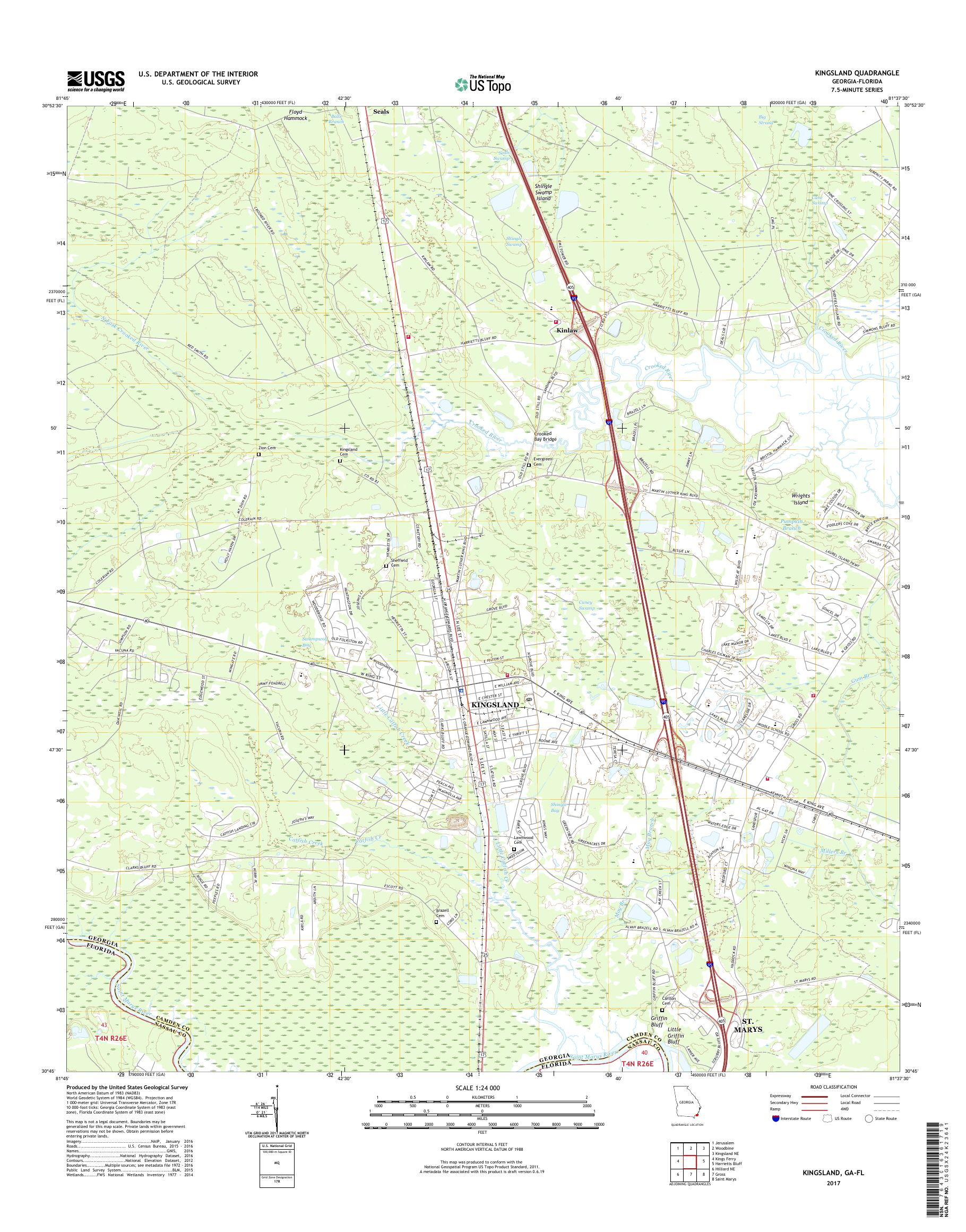 Map Of Kingsland Georgia.Mytopo Kingsland Georgia Usgs Quad Topo Map