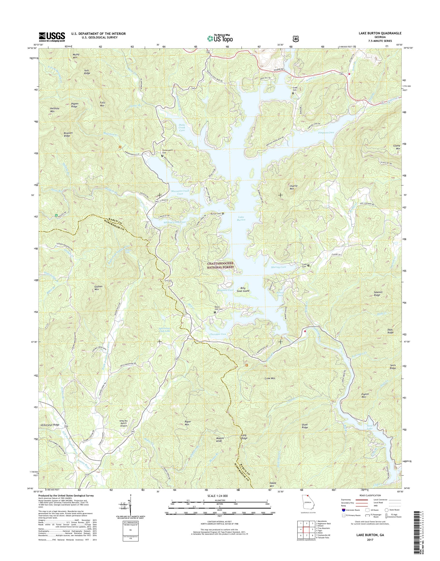 lake burton ga map Mytopo Lake Burton Georgia Usgs Quad Topo Map lake burton ga map