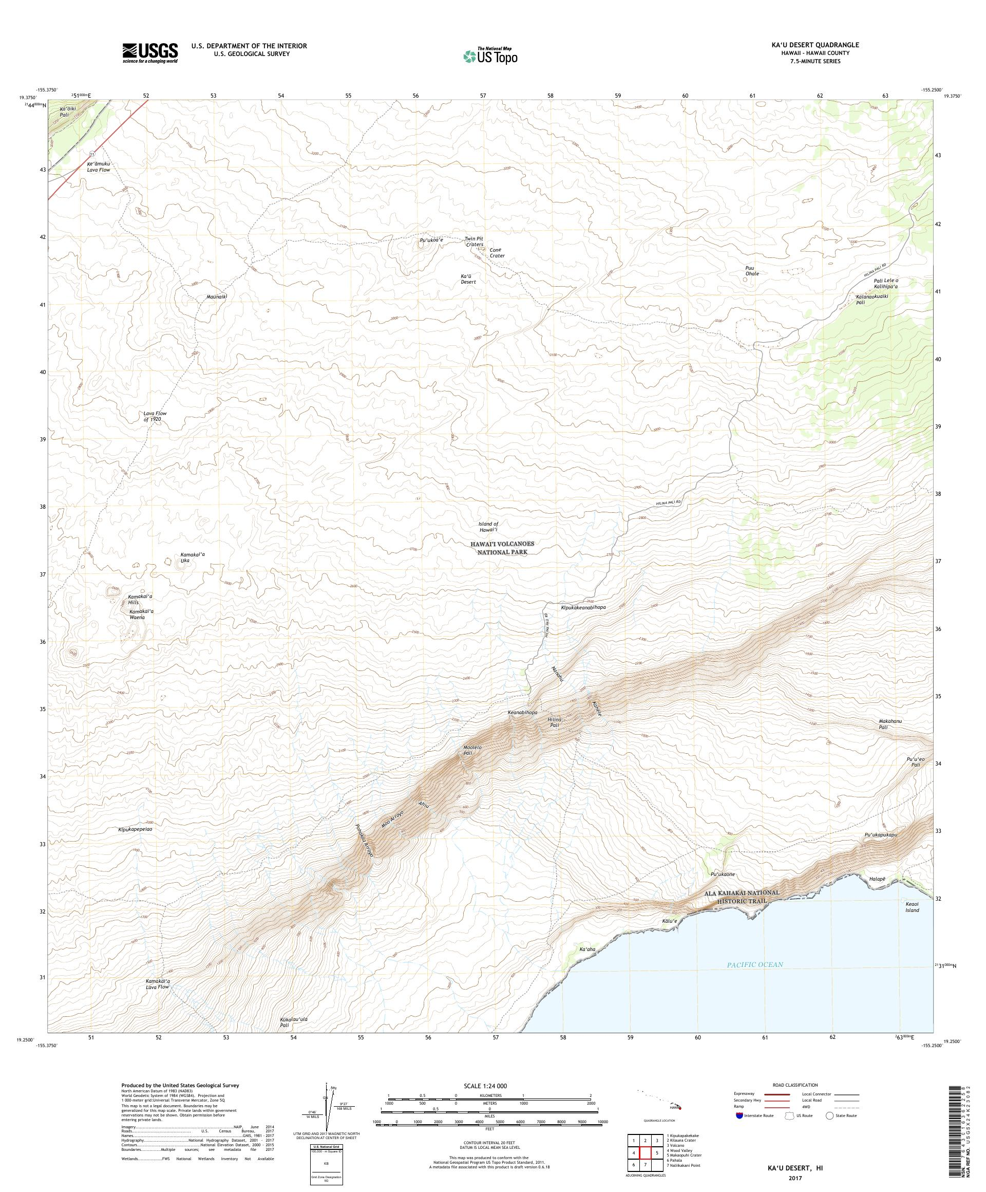 MyTopo Kau Desert, Hawaii USGS Quad Topo Map
