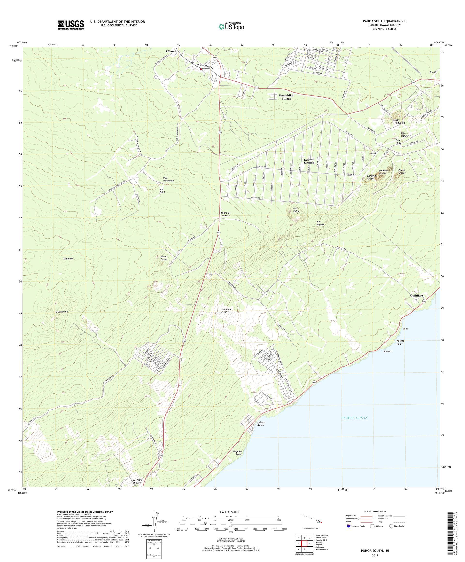 MyTopo Pahoa South, Hawaii USGS Quad Topo Map
