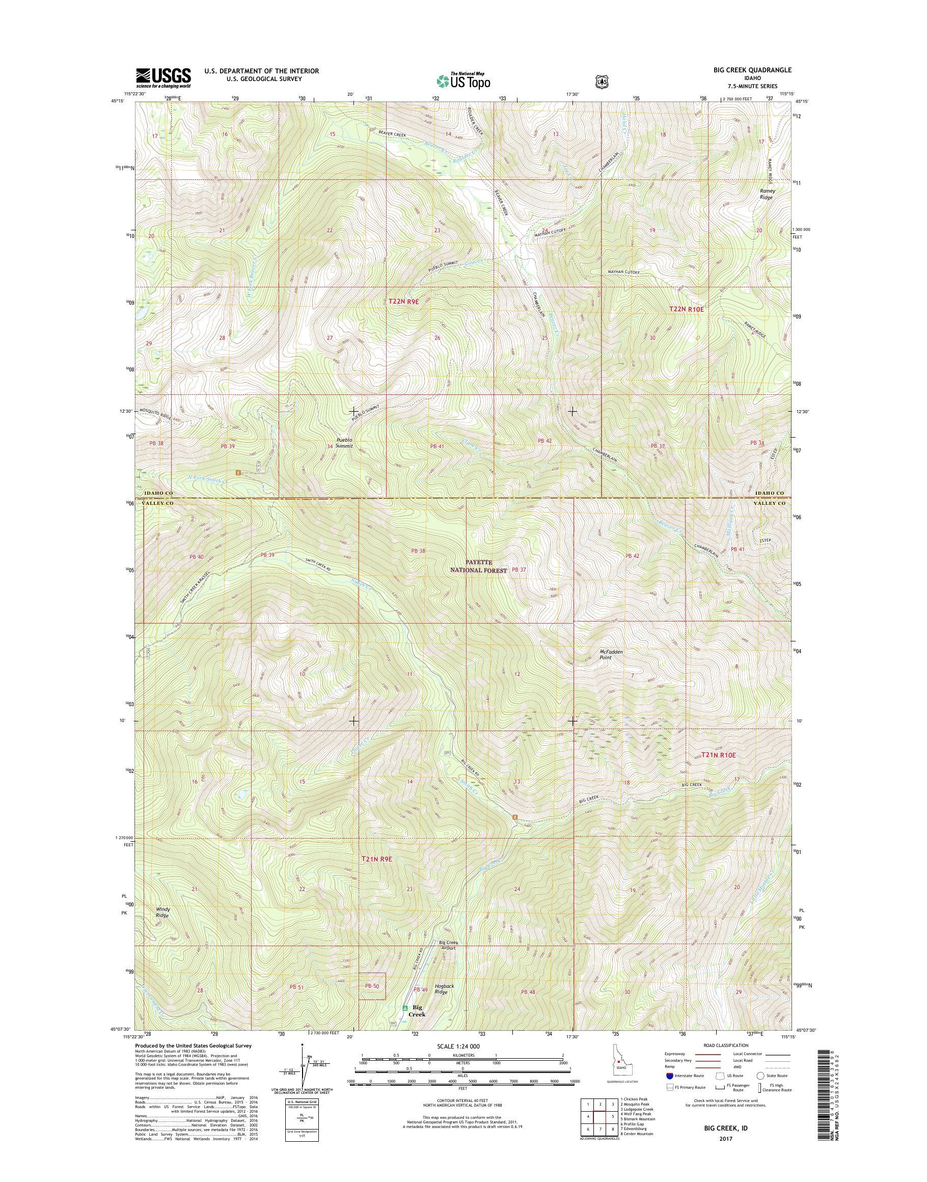 big creek idaho map Mytopo Big Creek Idaho Usgs Quad Topo Map big creek idaho map