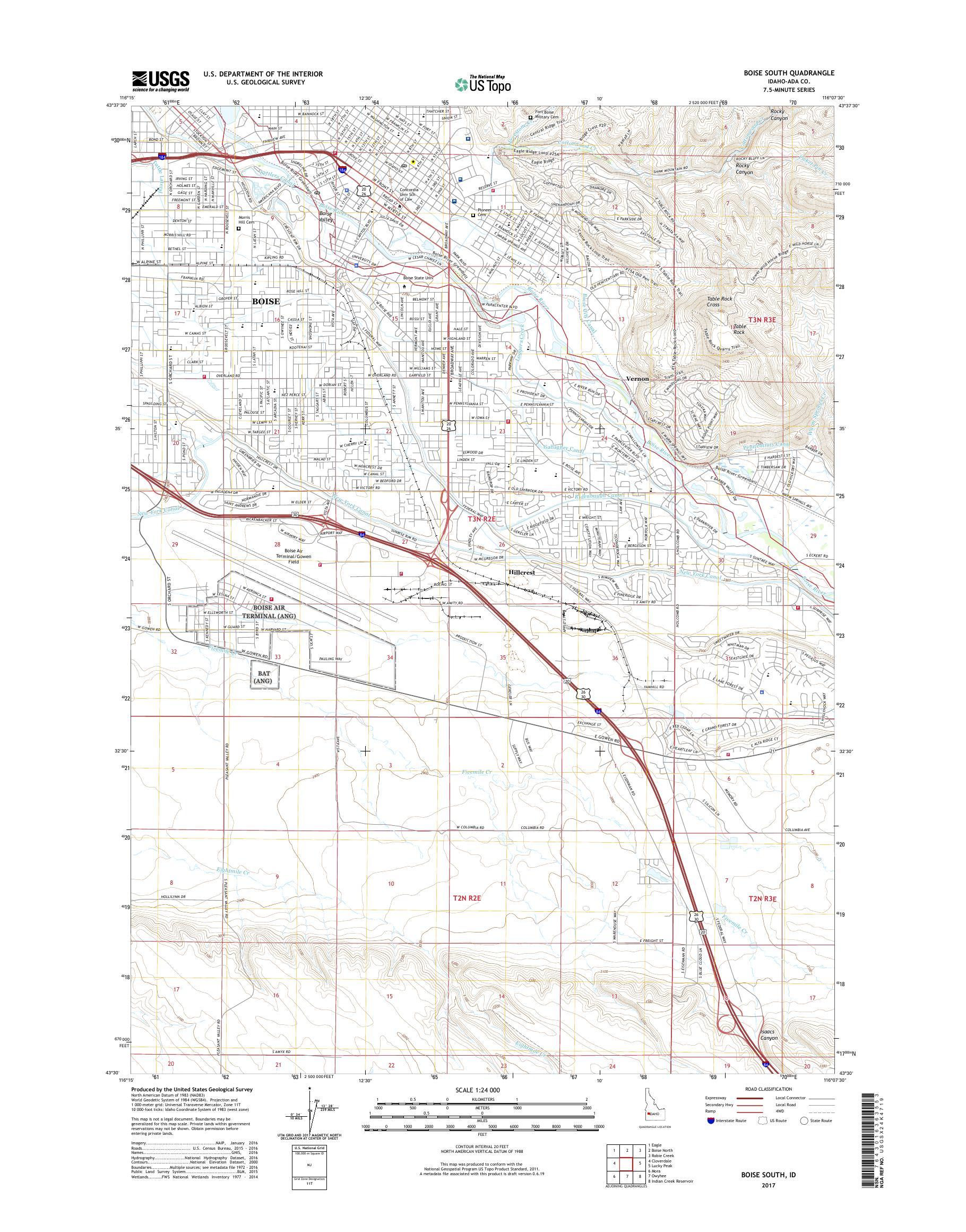 MyTopo Boise South, Idaho USGS Quad Topo Map