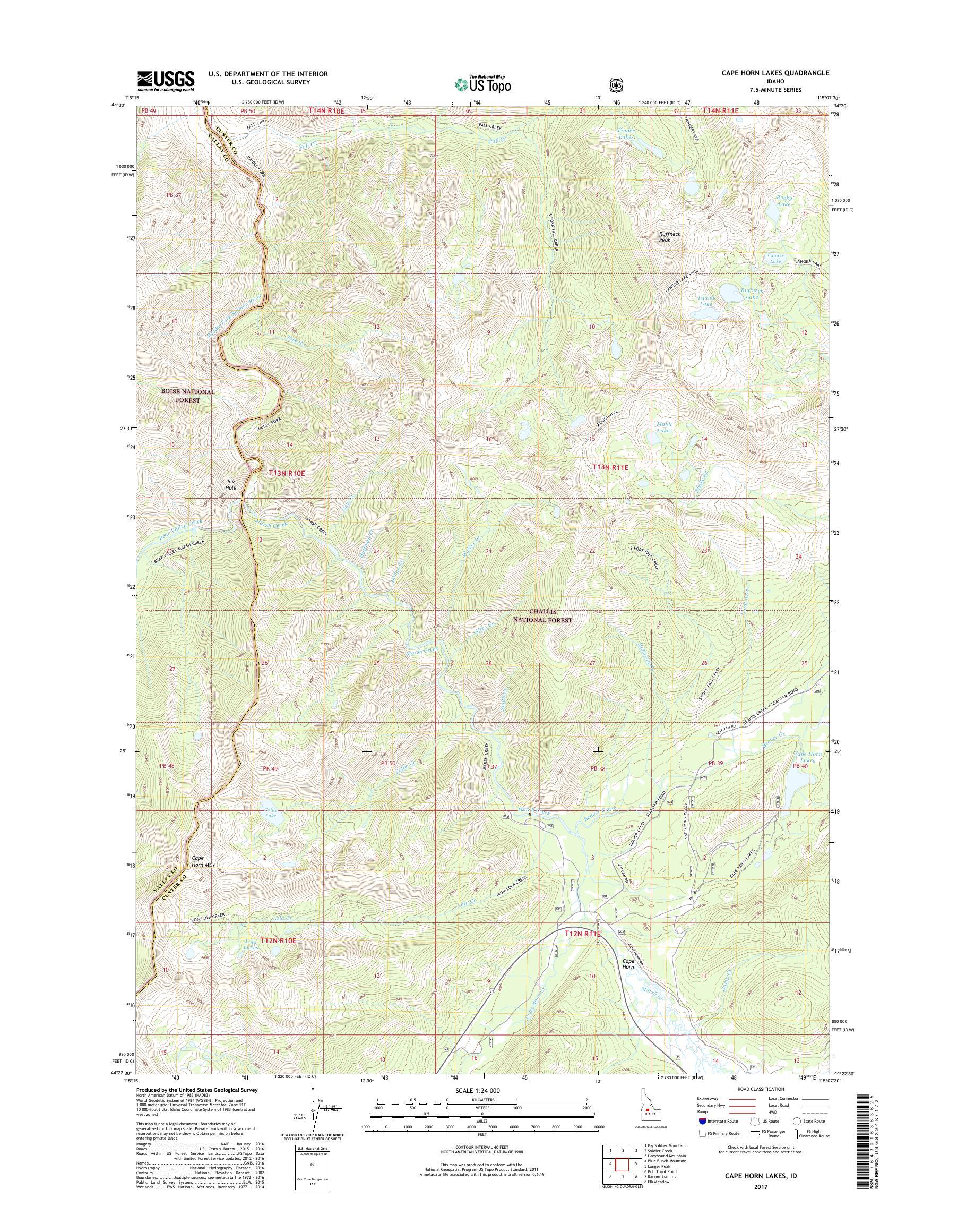 MyTopo Cape Horn Lakes, Idaho USGS Quad Topo Map