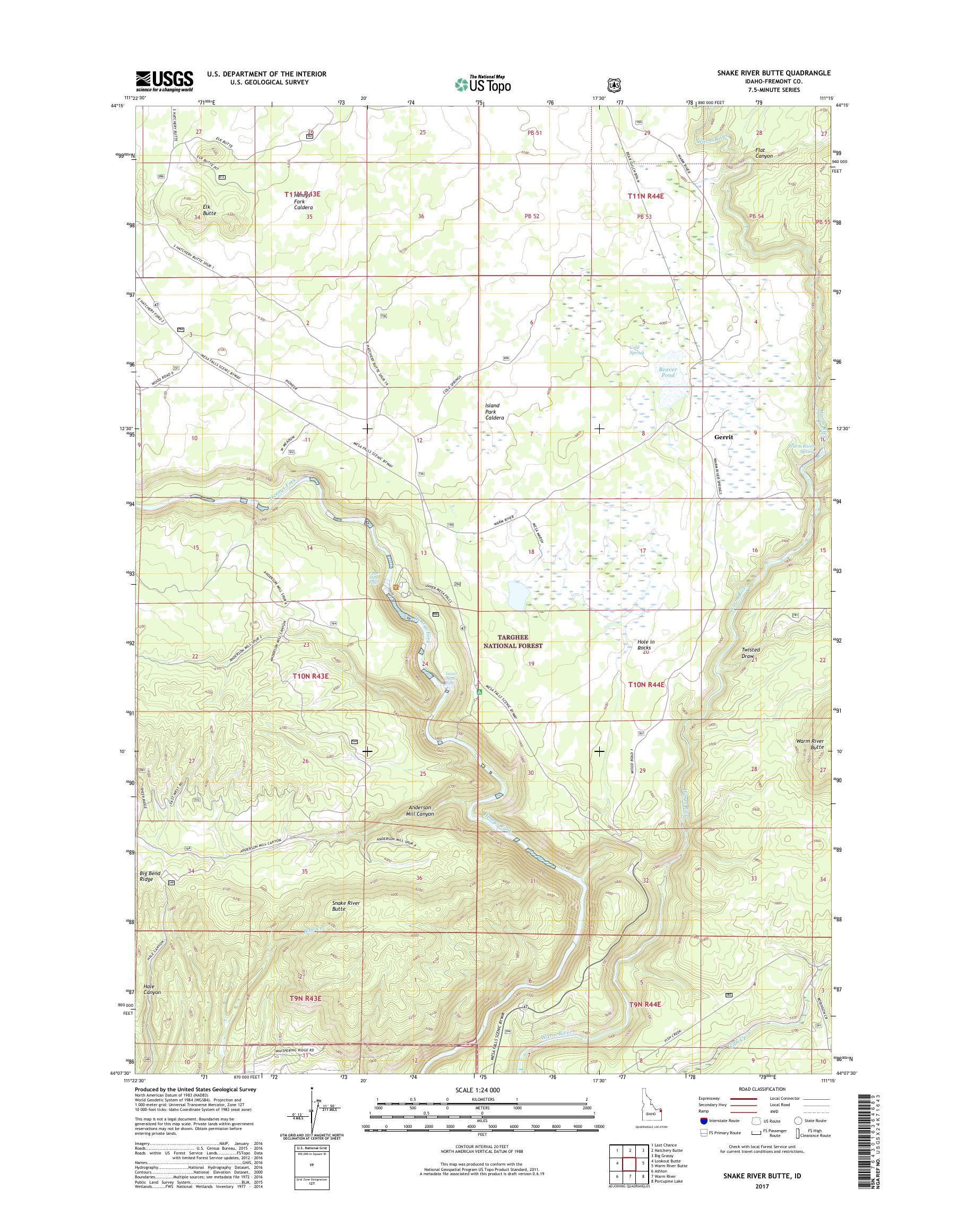 Mytopo Snake River Butte Idaho Usgs Quad Topo Map - Us-map-snake-river
