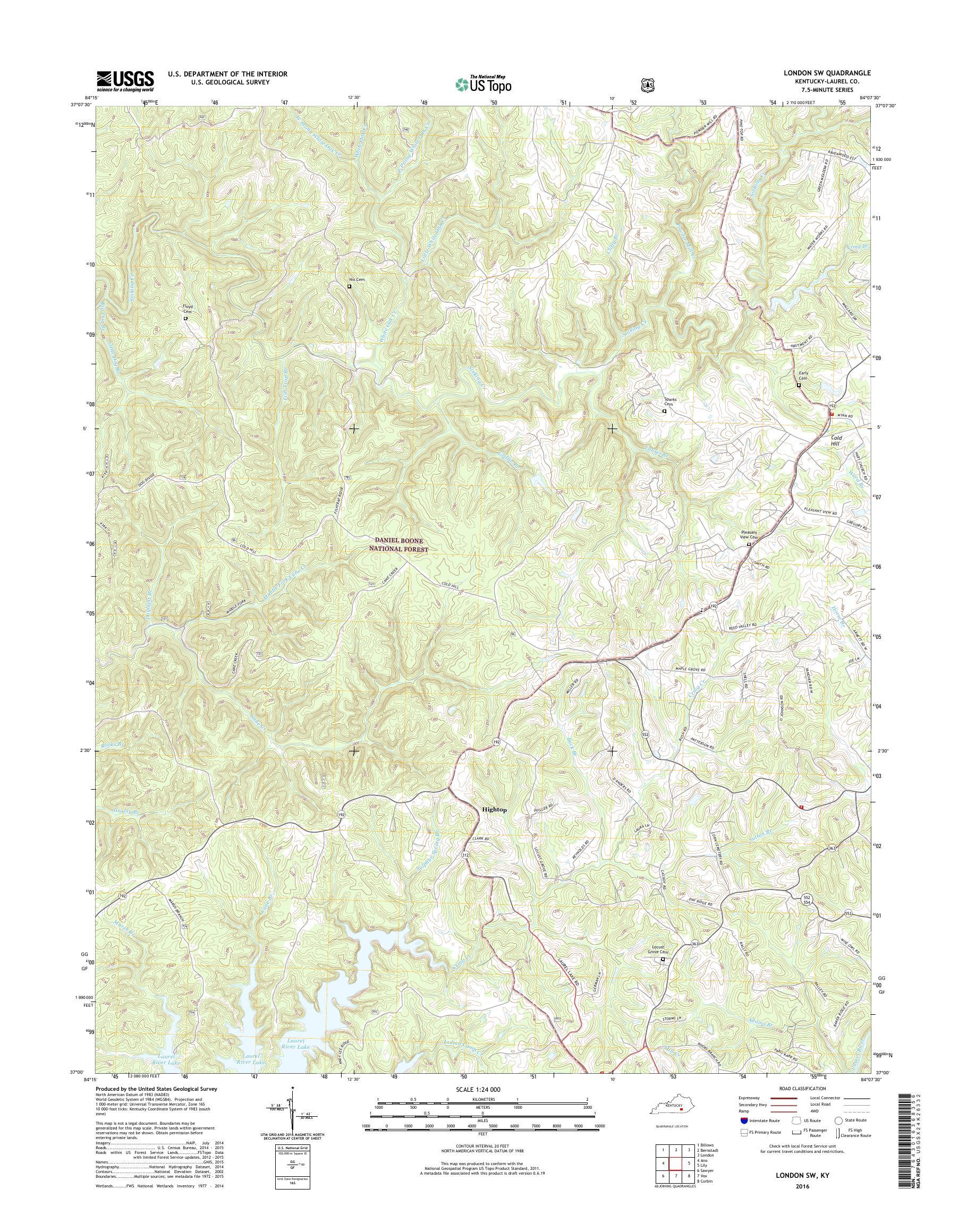 London Sw Map.Mytopo London Sw Kentucky Usgs Quad Topo Map
