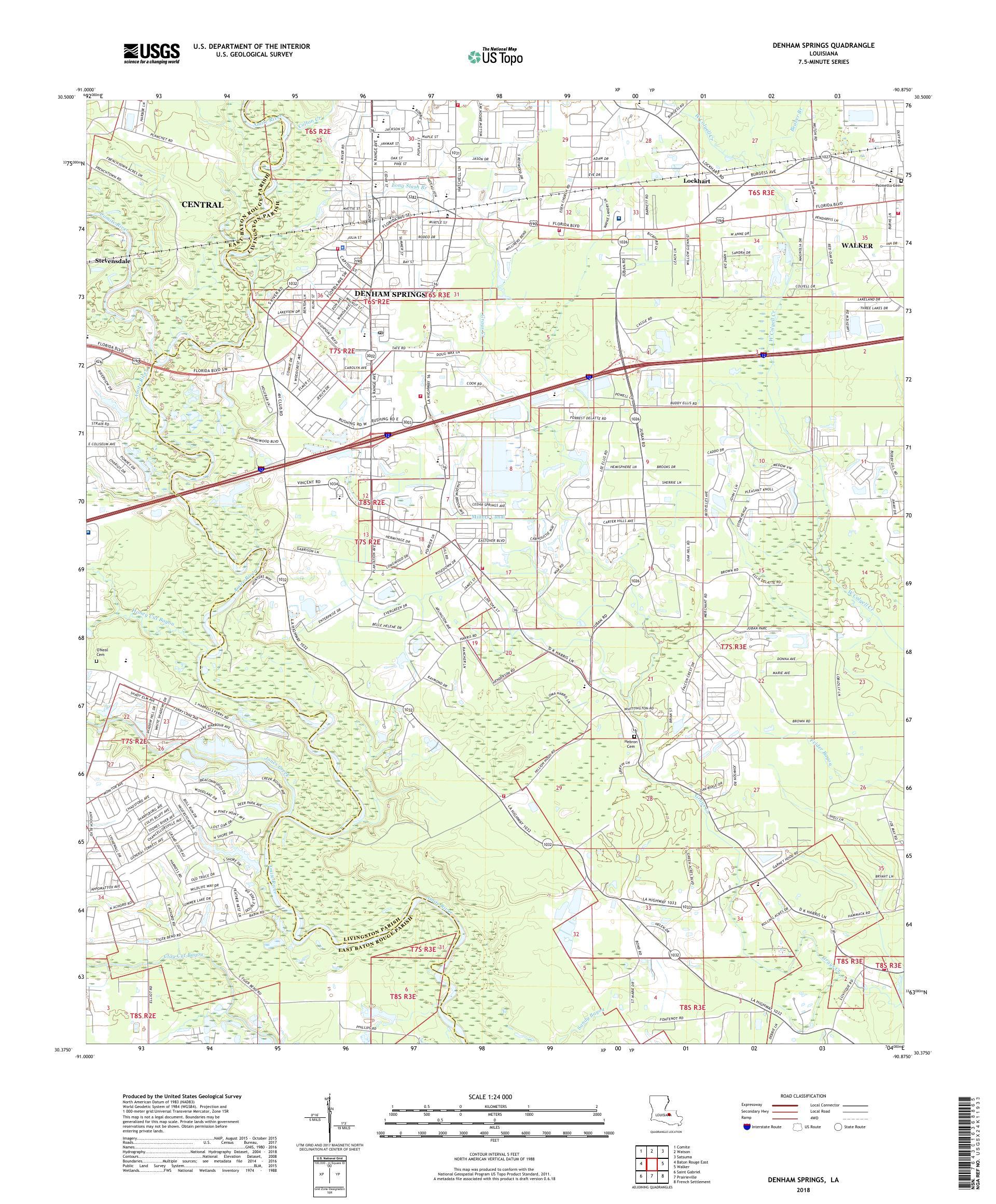 MyTopo Denham Springs, Louisiana USGS Quad Topo Map on
