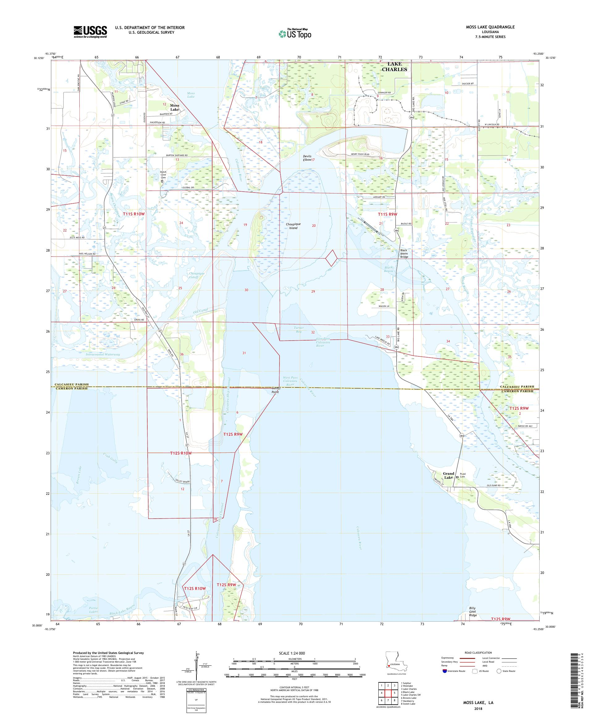 MyTopo Moss Lake, Louisiana USGS Quad Topo Map