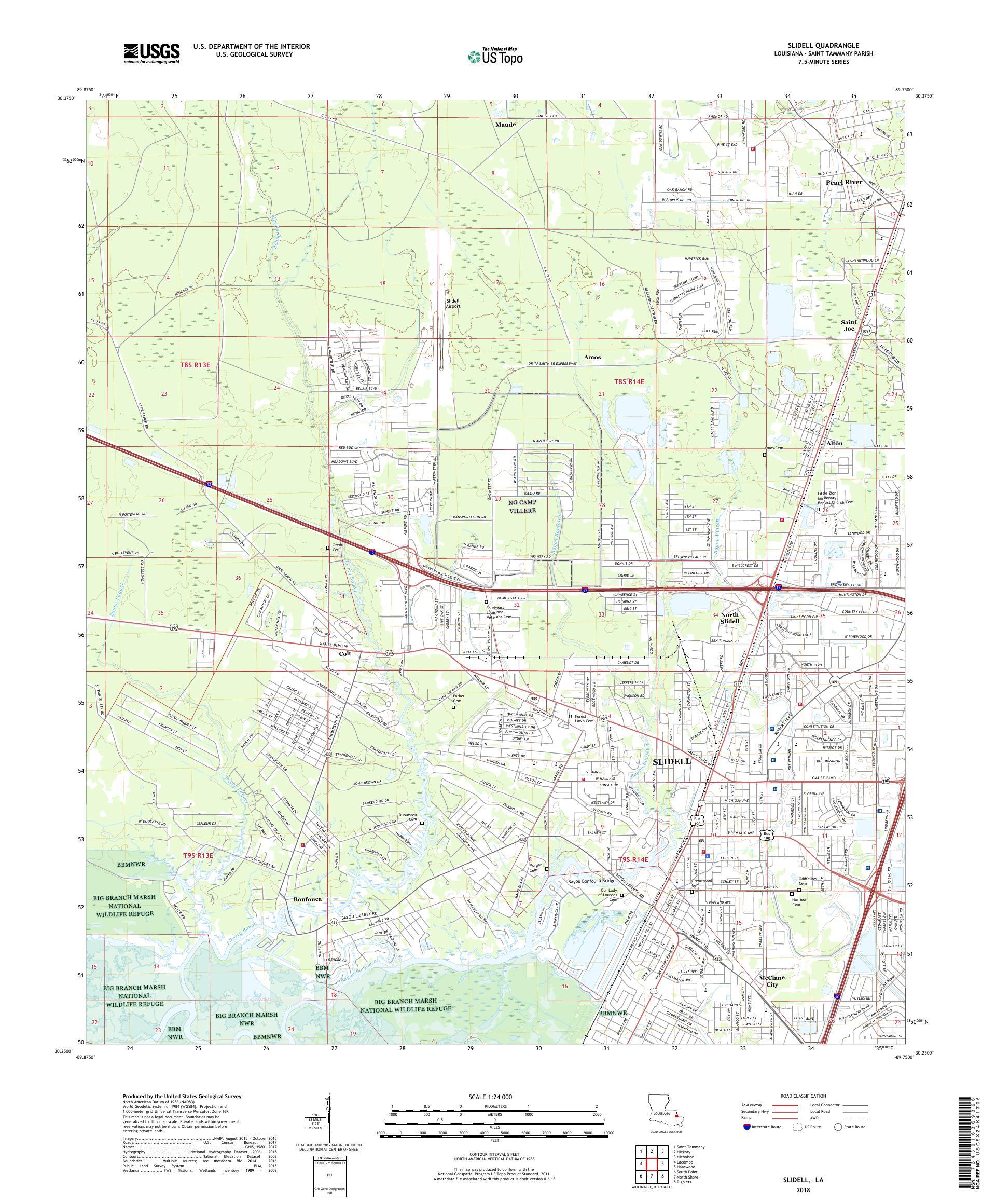 MyTopo Slidell, Louisiana USGS Quad Topo Map on
