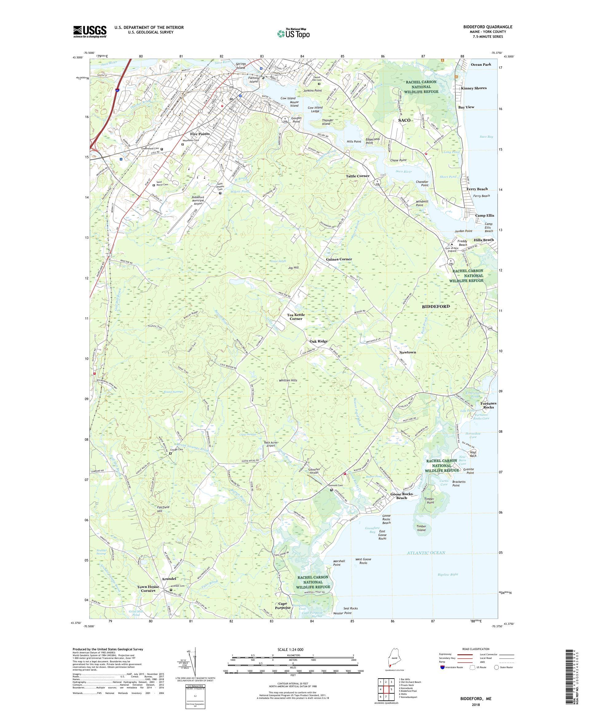 Mytopo Biddeford Maine Usgs Quad Topo Map