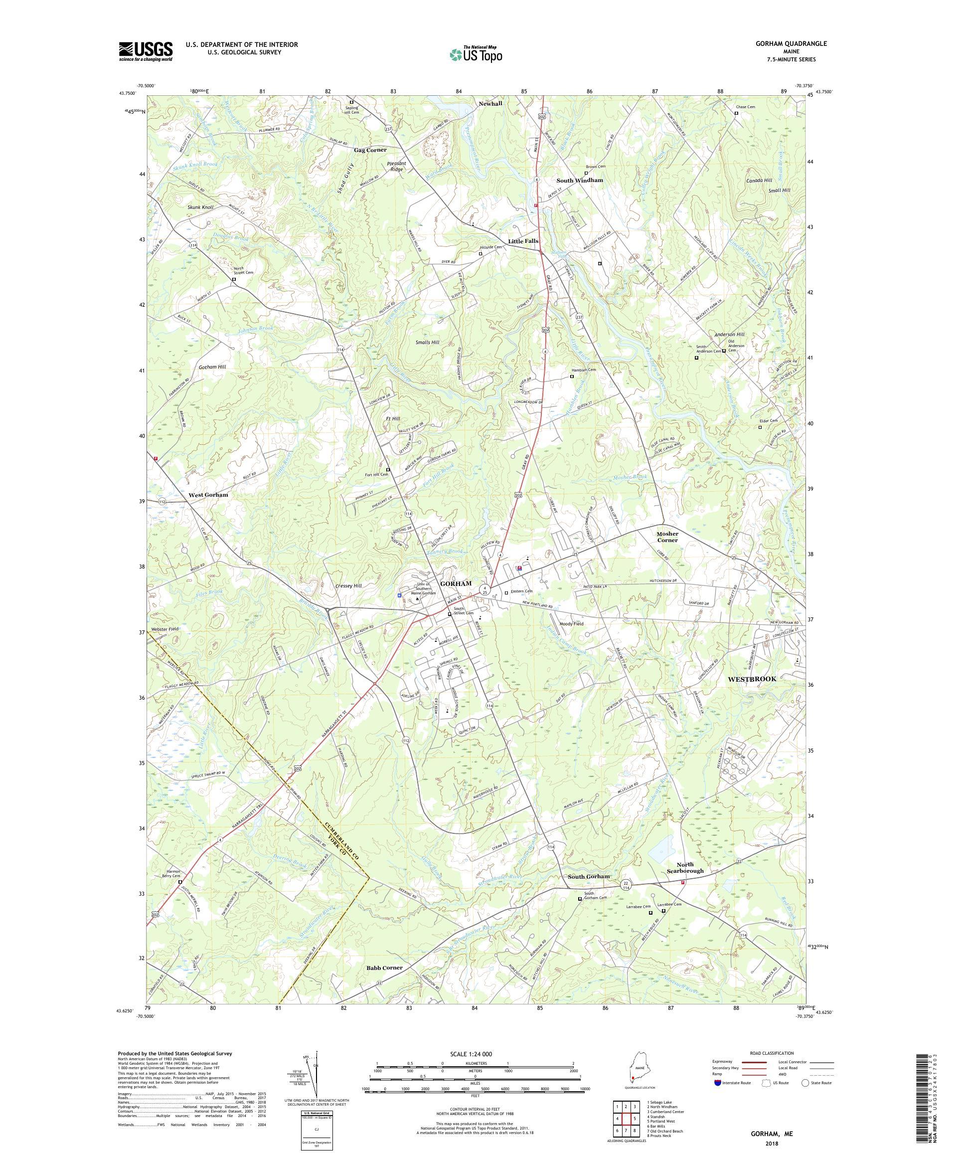 MyTopo Gorham, Maine USGS Quad Topo Map