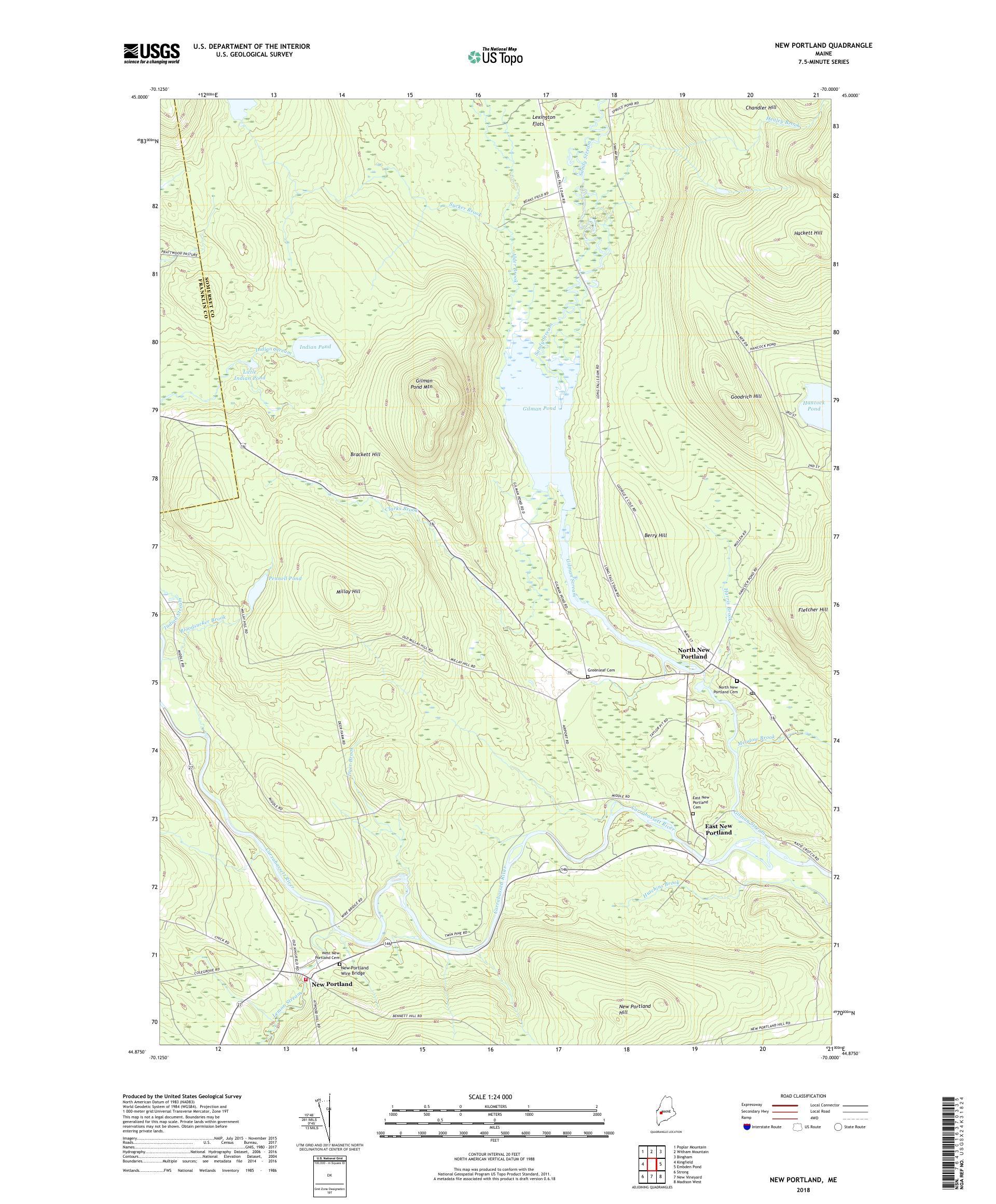 MyTopo New Portland, Maine USGS Quad Topo Map