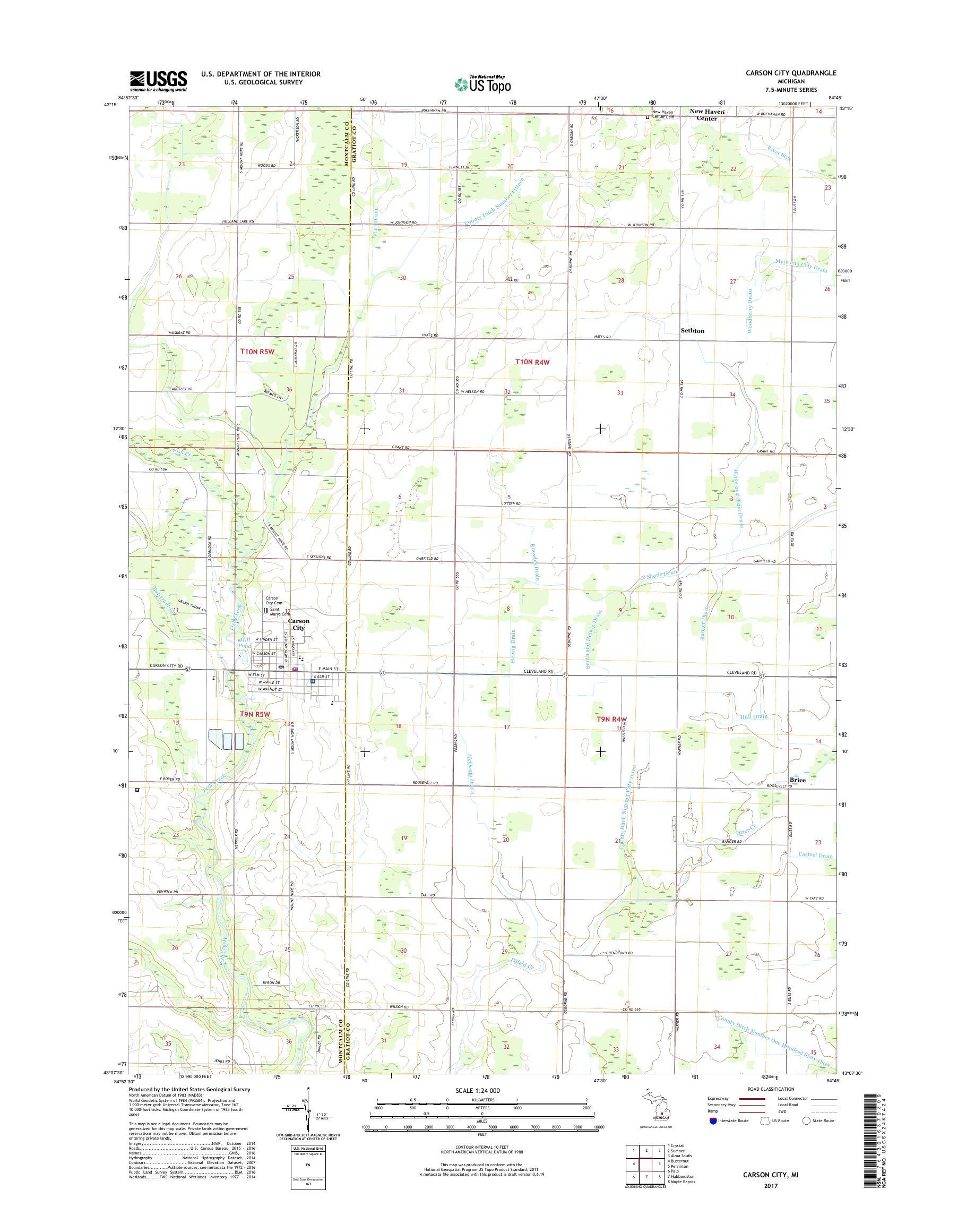 Mytopo Carson City Michigan Usgs Quad Topo Map