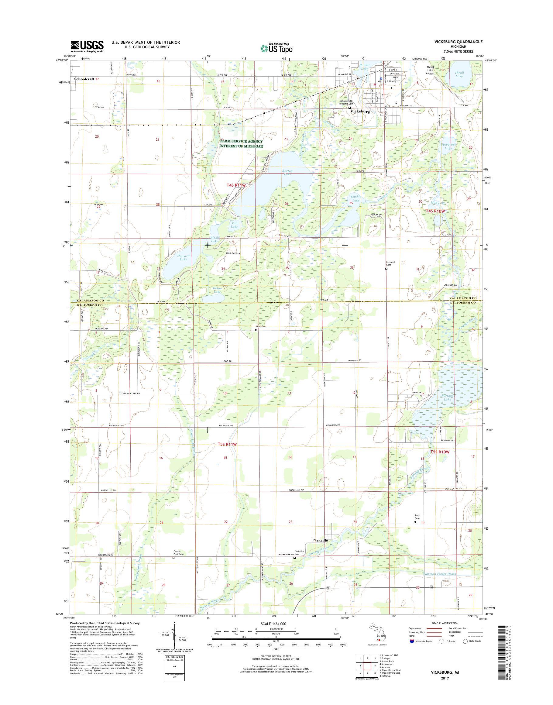 Mytopo Vicksburg Michigan Usgs Quad Topo Map - Vicksburg-on-us-map