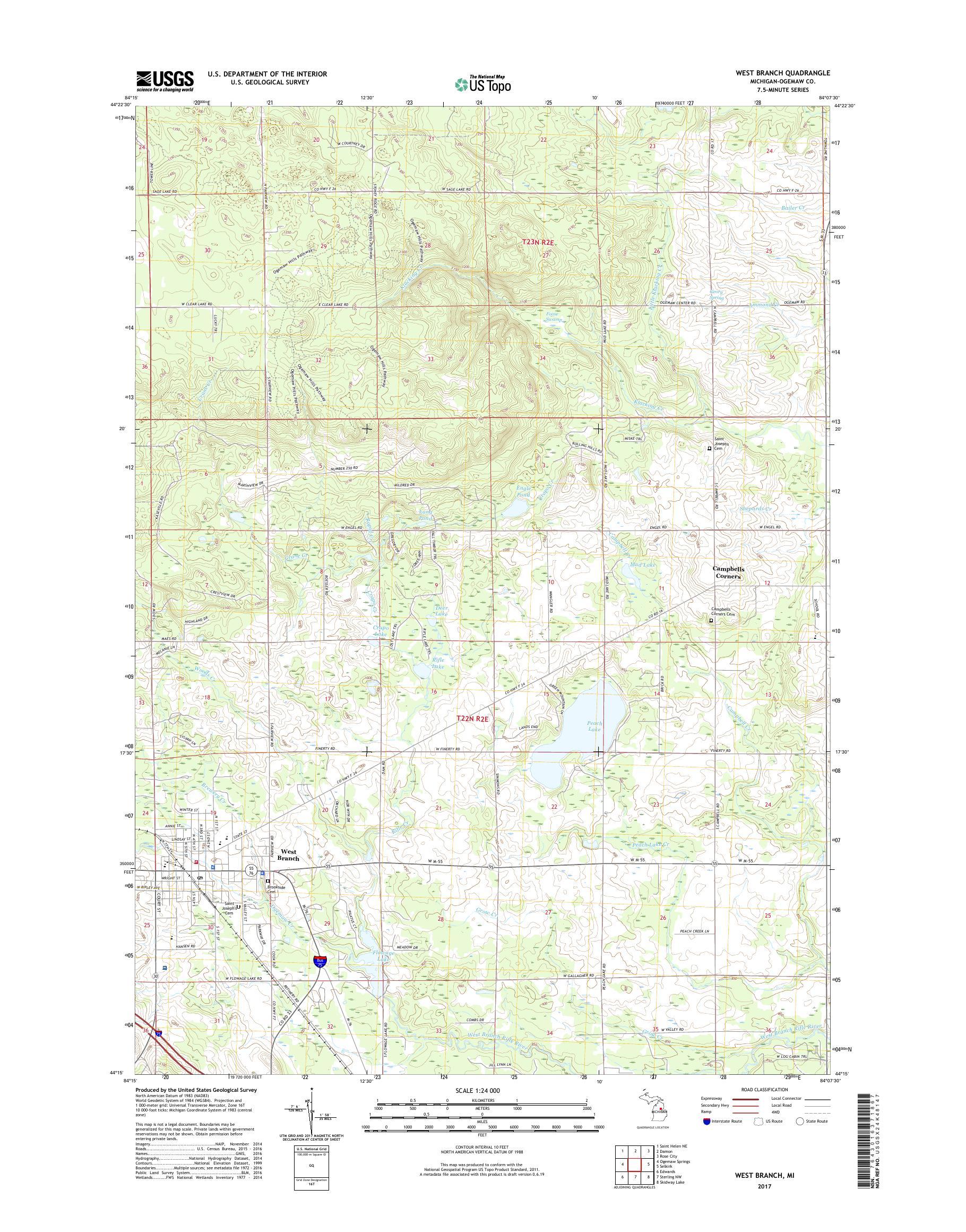 Mytopo West Branch Michigan Usgs Quad Topo Map