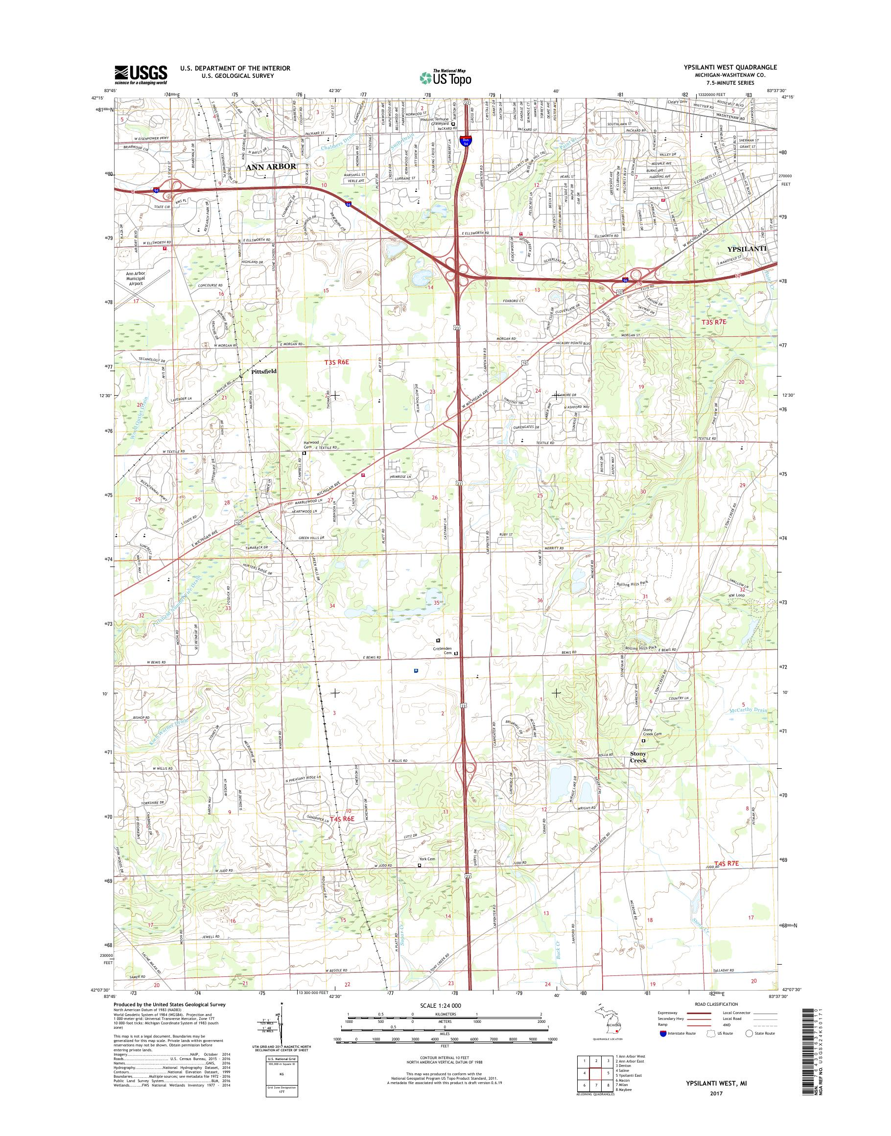 MyTopo Ypsilanti West, Michigan USGS Quad Topo Map on