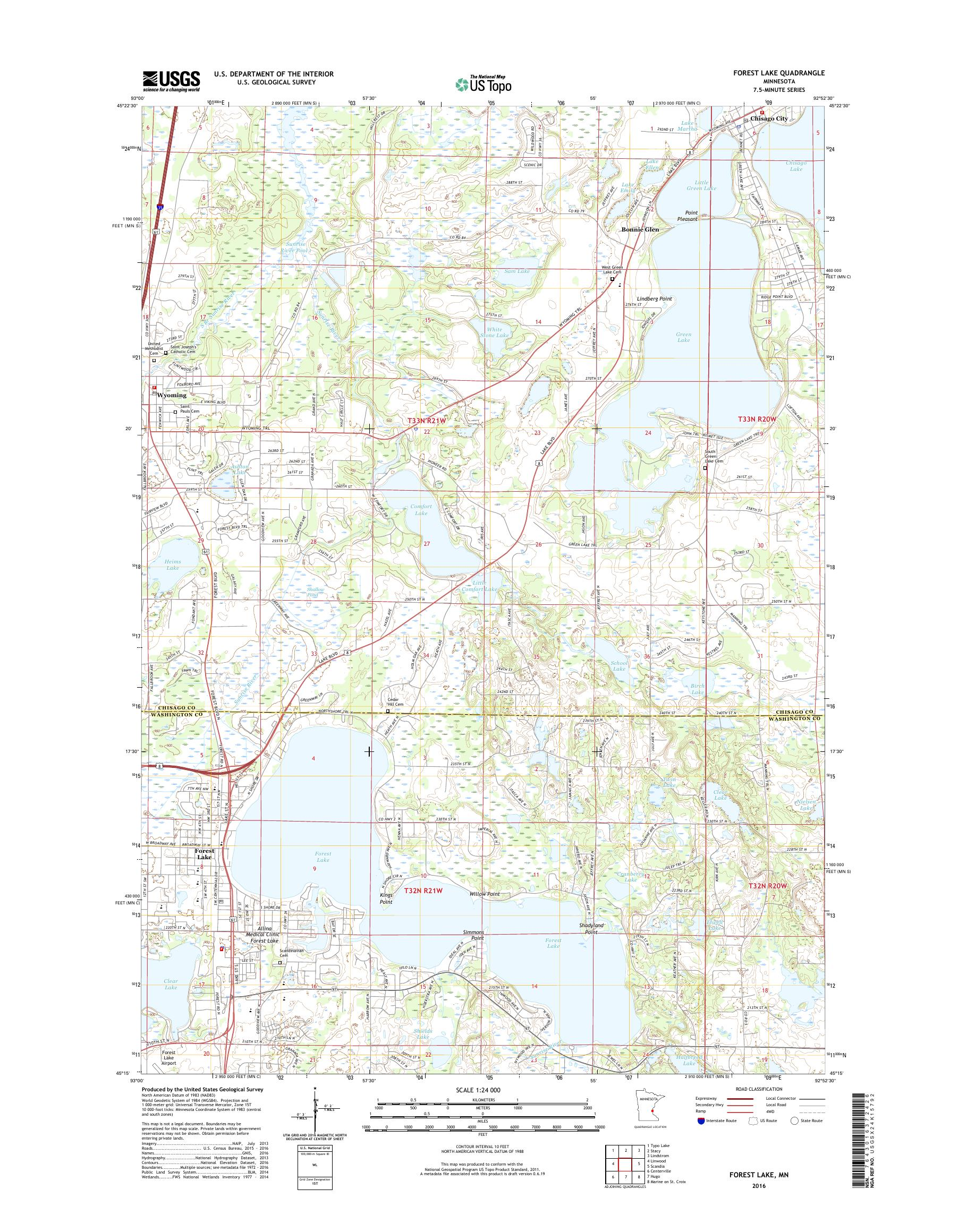 forest lake mn map Mytopo Forest Lake Minnesota Usgs Quad Topo Map forest lake mn map