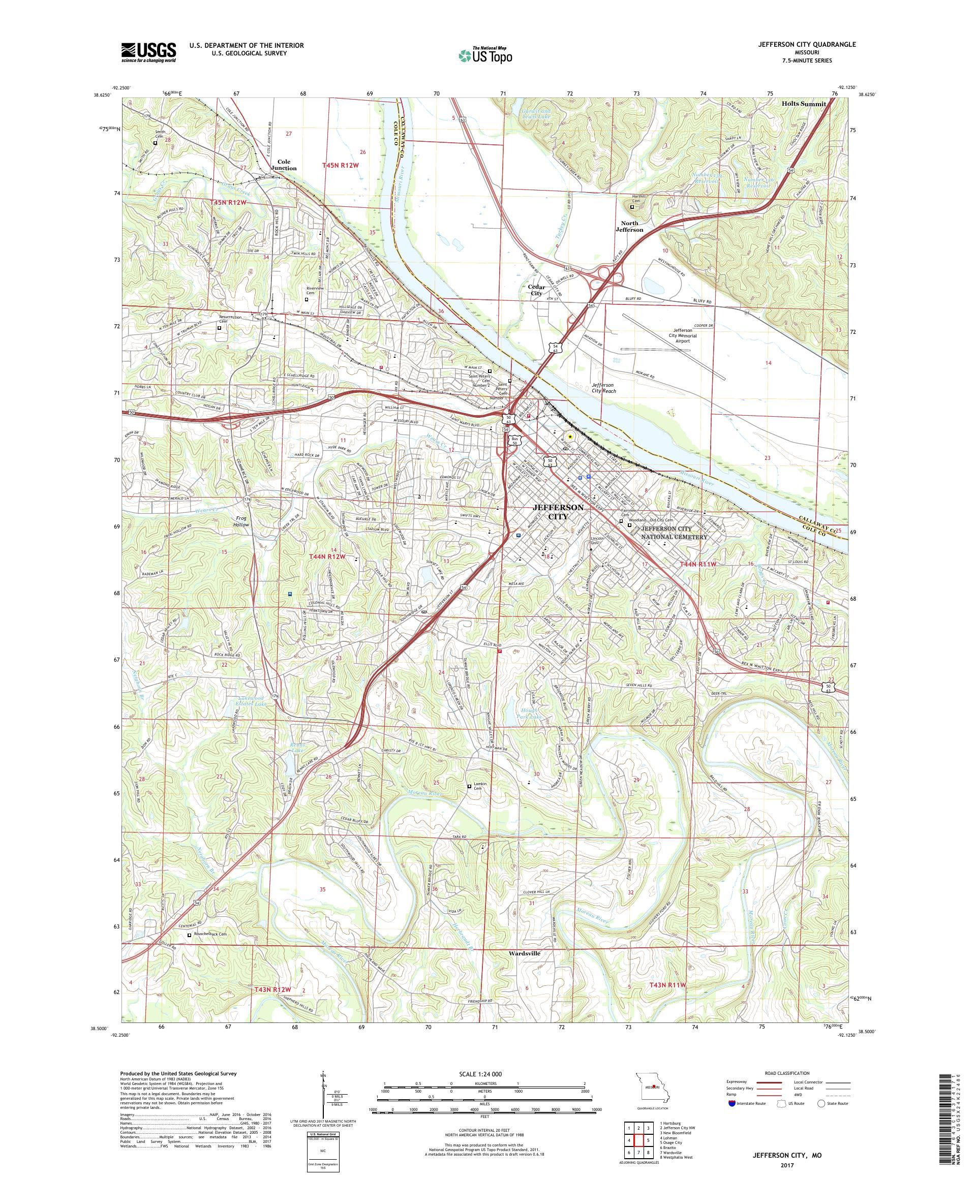 MyTopo Jefferson City, Missouri USGS Quad Topo Map