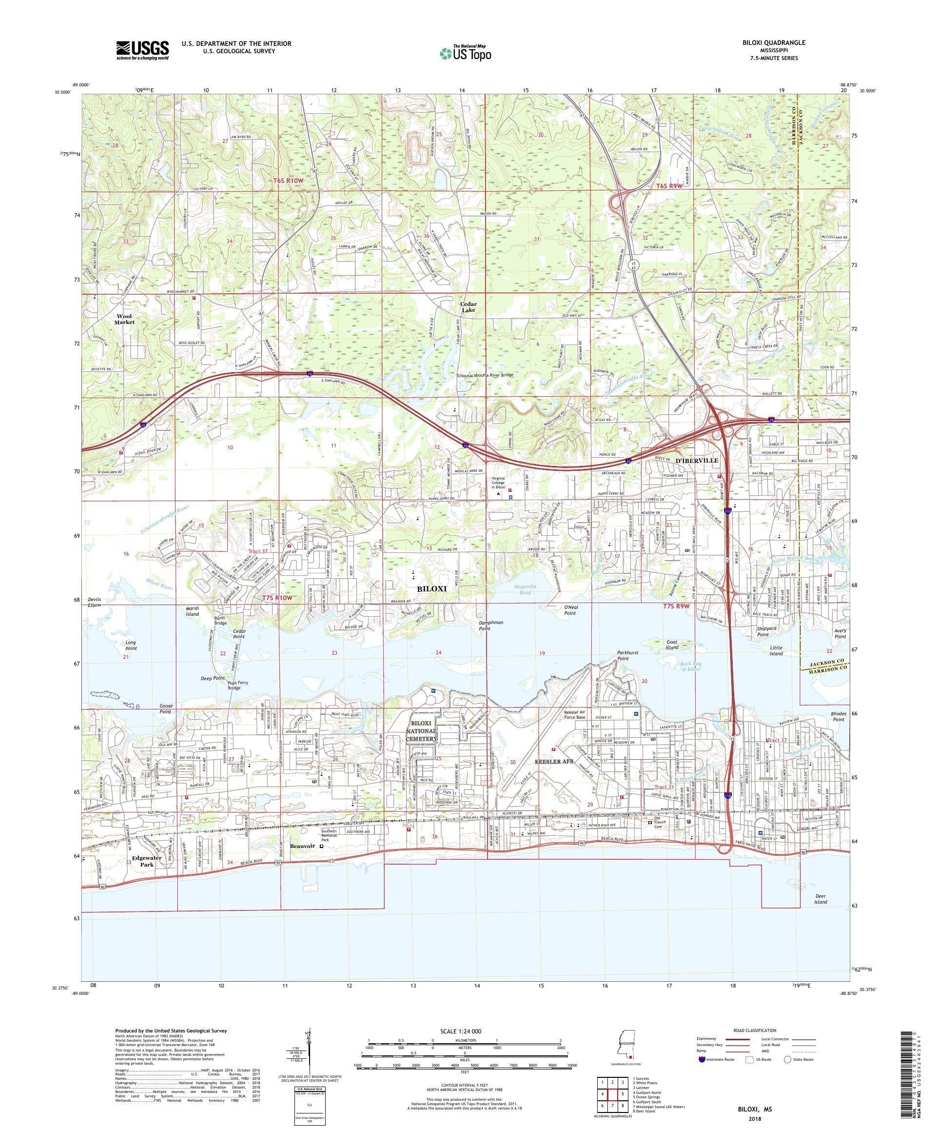 Mytopo Biloxi Mississippi Usgs Quad Topo Map