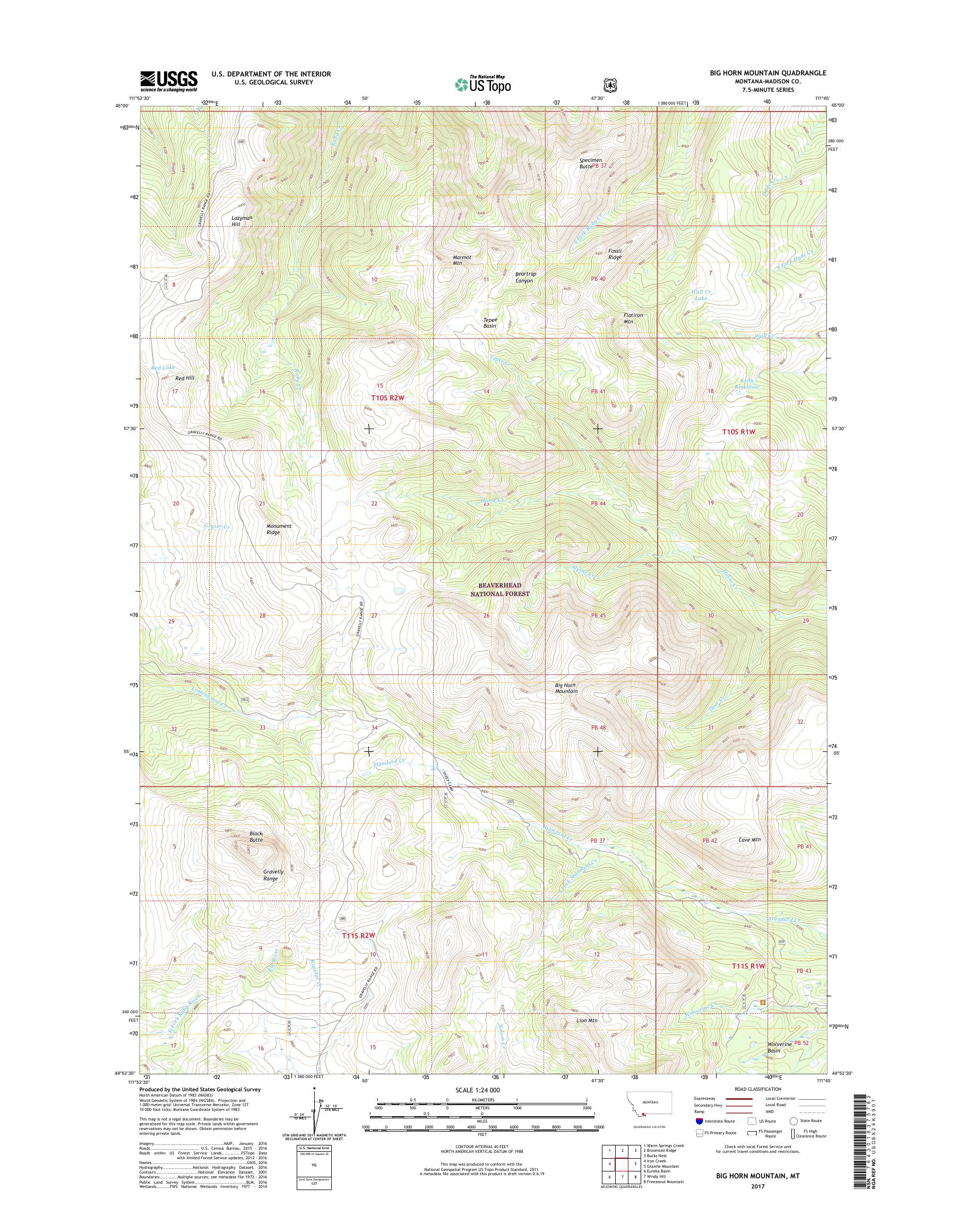 MyTopo Big Horn Mountain, Montana USGS Quad Topo Map