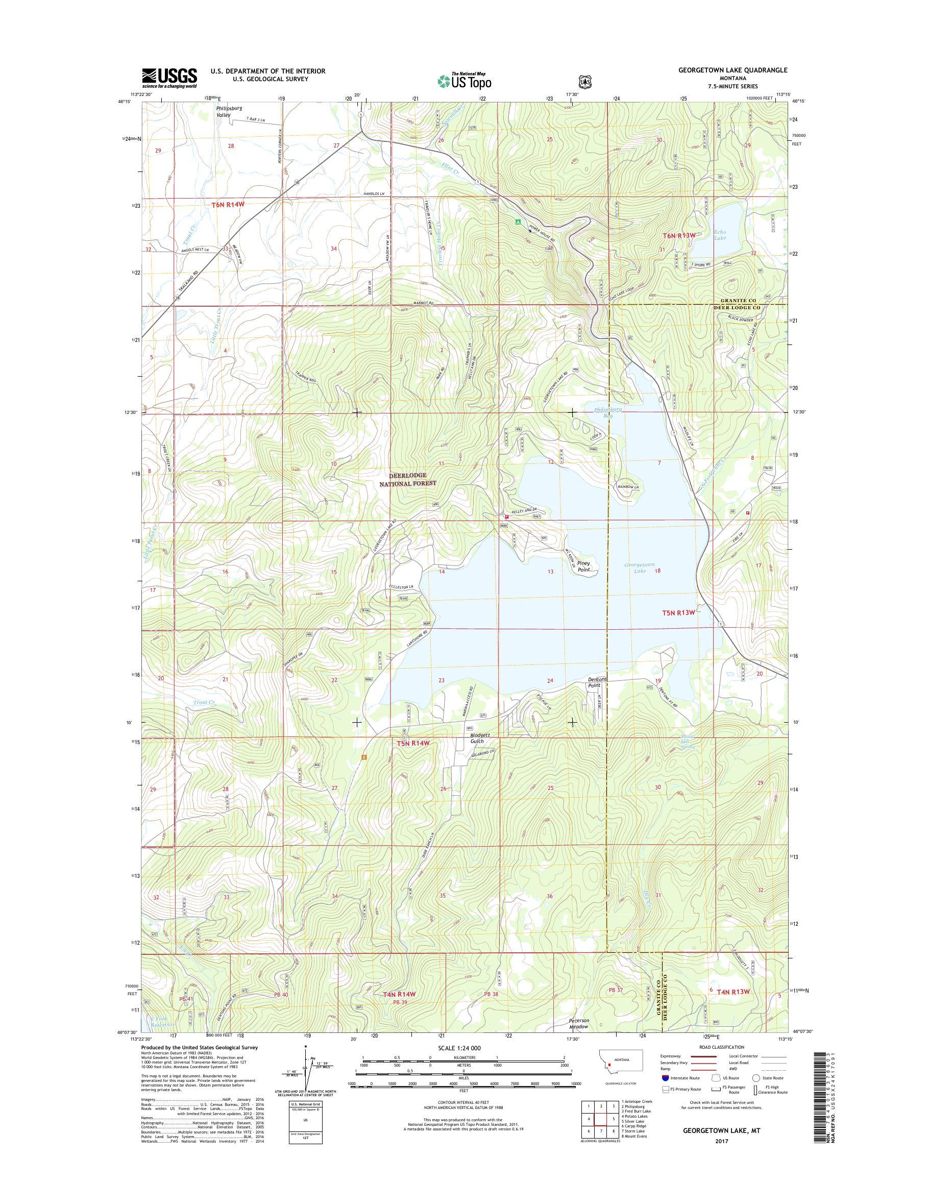 georgetown lake mt map Mytopo Georgetown Lake Montana Usgs Quad Topo Map georgetown lake mt map