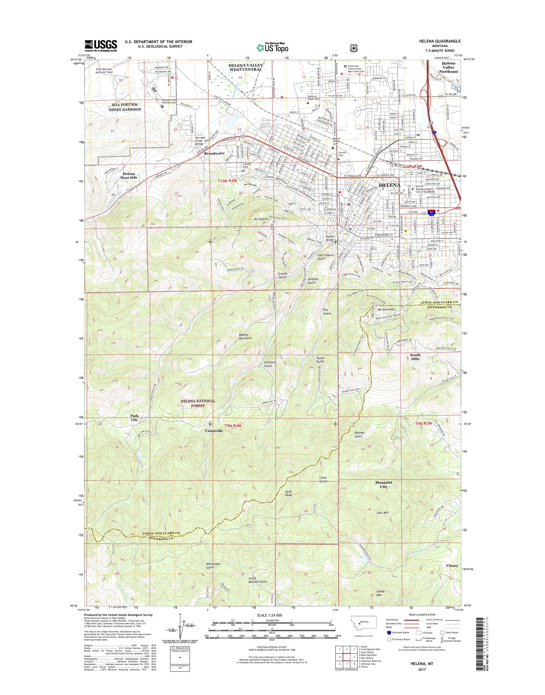 MyTopo Helena, Montana USGS Quad Topo Map