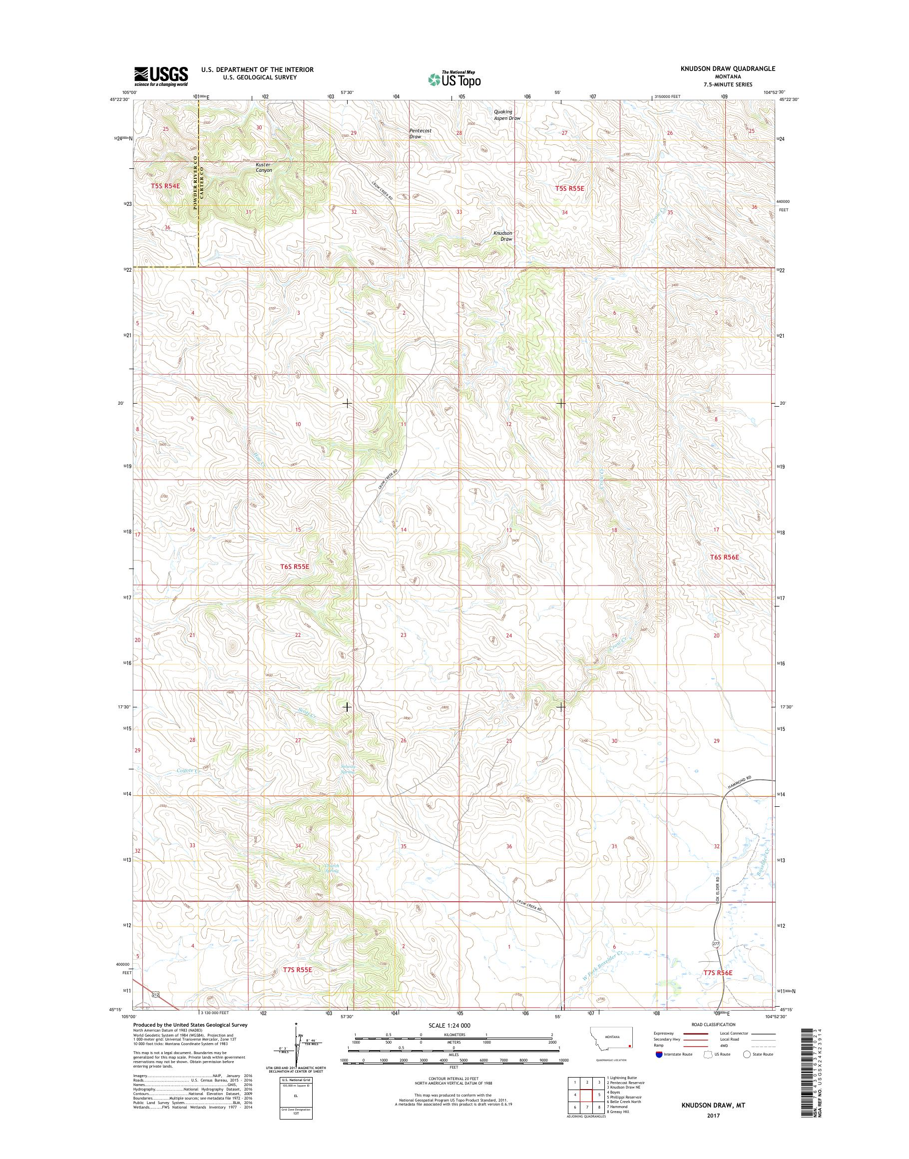 MyTopo Knudson Draw, Montana USGS Quad Topo Map