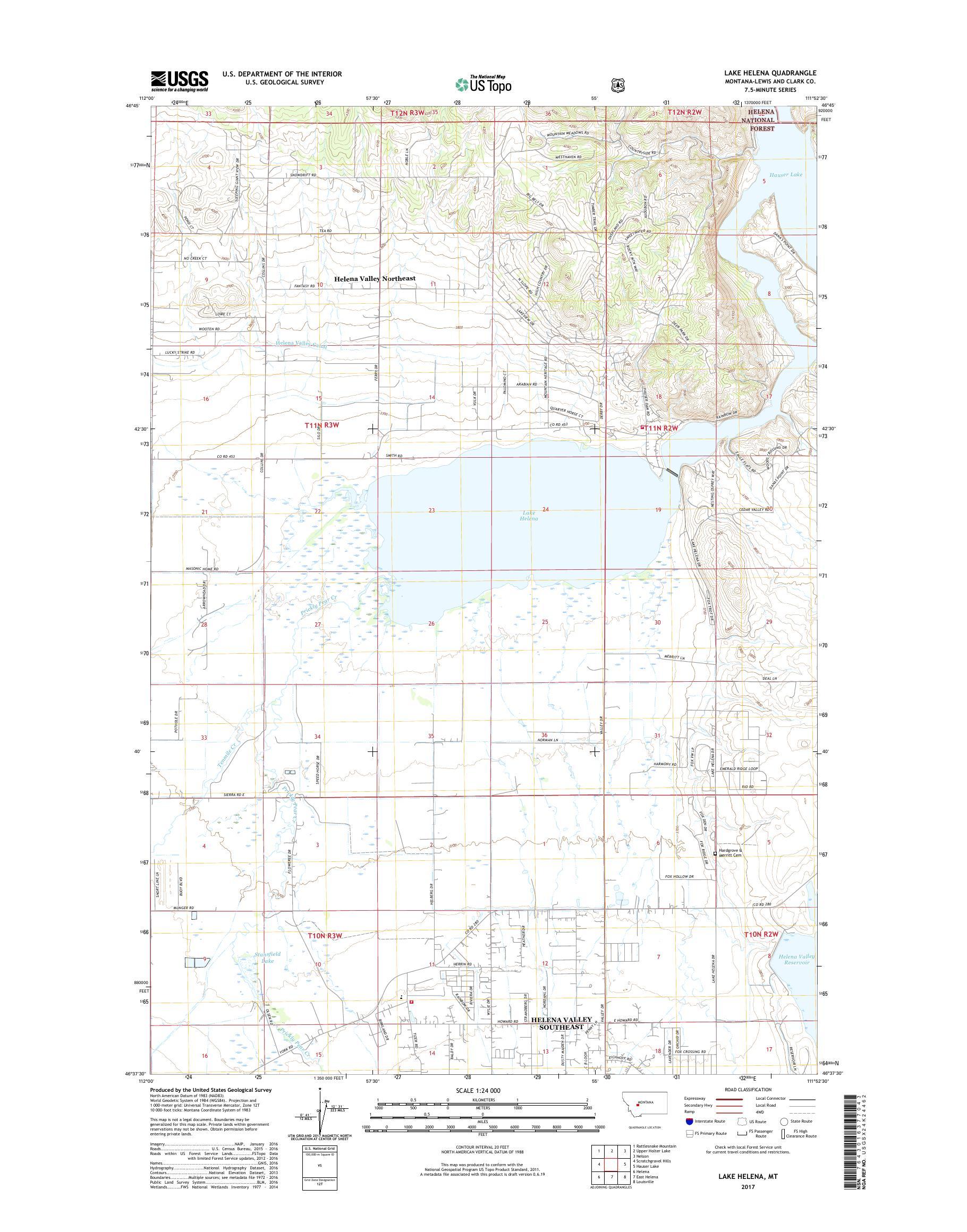MyTopo Lake Helena, Montana USGS Quad Topo Map