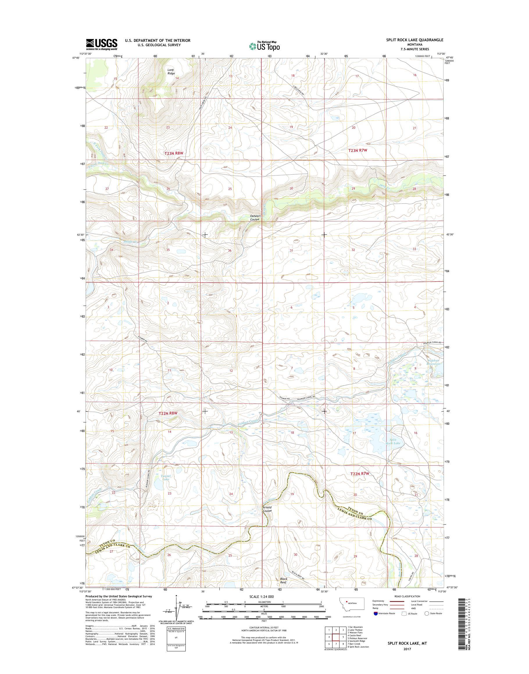 MyTopo Split Rock Lake, Montana USGS Quad Topo Map on