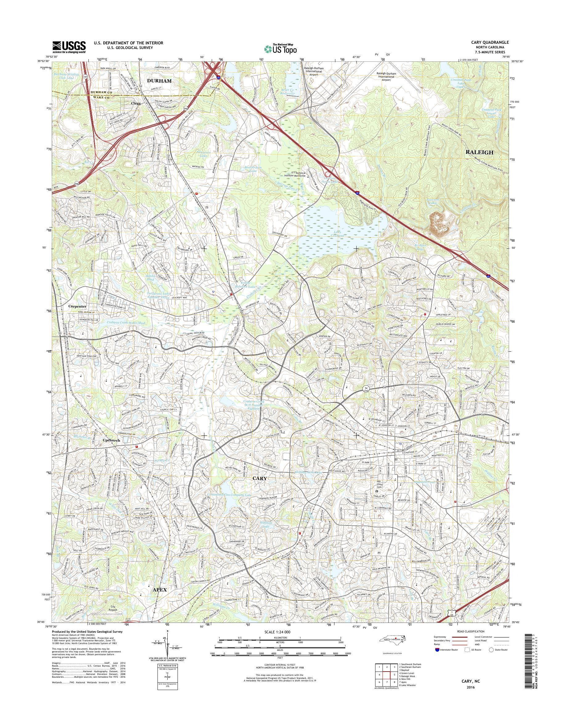 MyTopo Cary, North Carolina USGS Quad Topo Map on